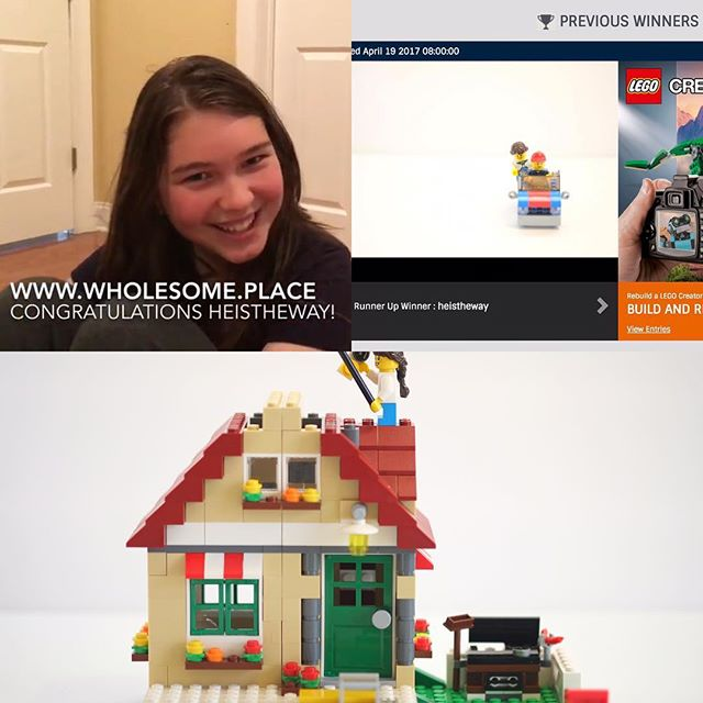 Our daughter won a recent LEGO Official contest as runner-up winner! We're so happy for her! 🎉🎈#stopmotion #likesecondplace #interview #legocontest @lego 😊🎥 http://www.wholesome.place/blog/heistheway-is-runner-up-winner-for-lego-official-build-and-rebuild-stop-motion-contest-1