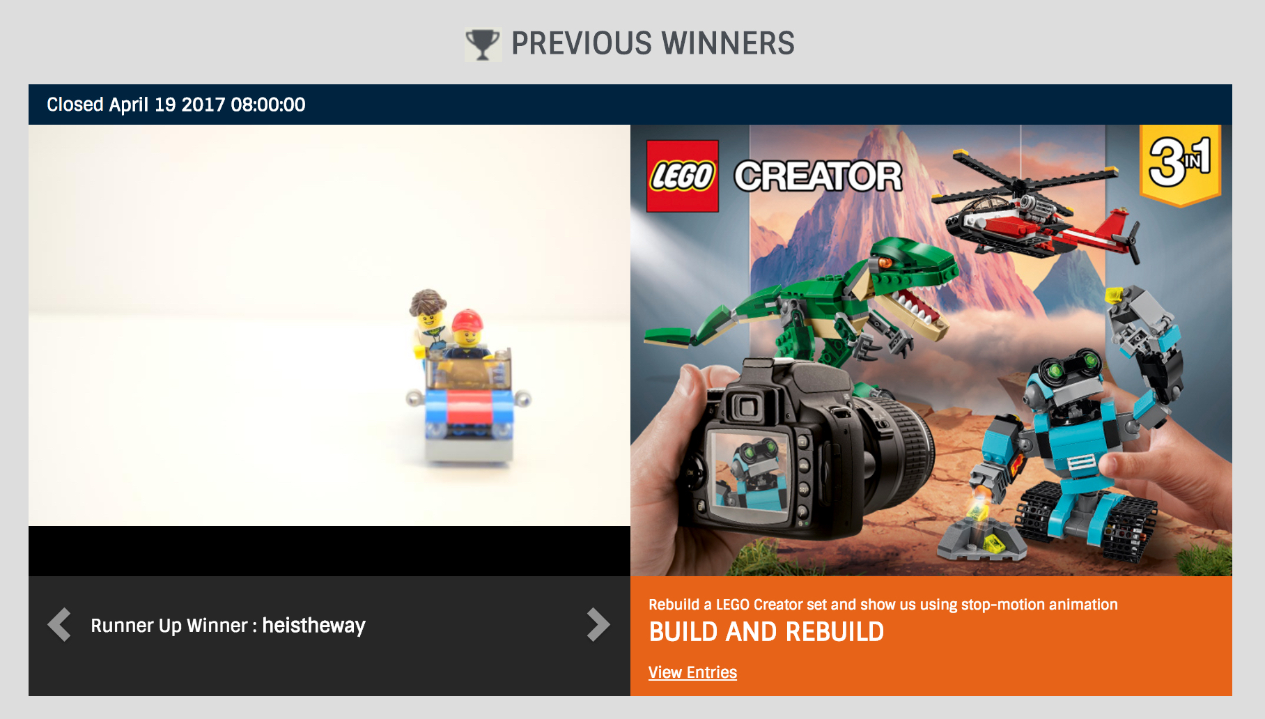 When you visit Lego.com's contest page, you can see a slideshow of winners and she is one of three. :) This is a screenshot from LEGO®