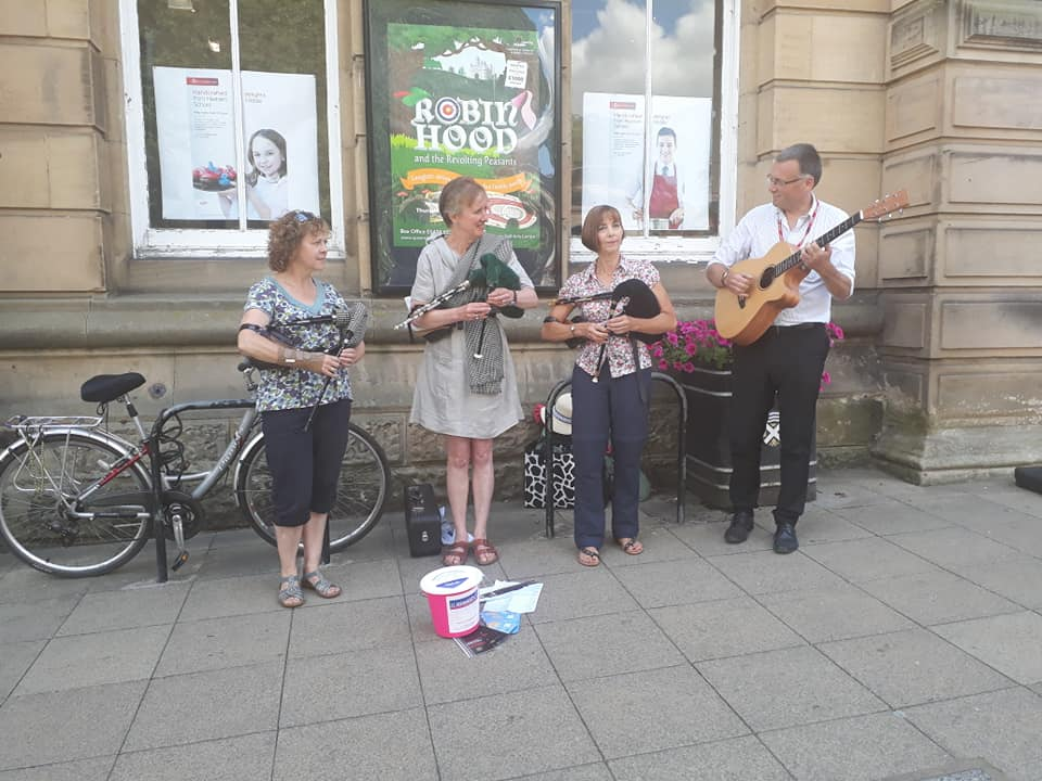 Northumbrian Pipers outside Queen's Hall.jpg
