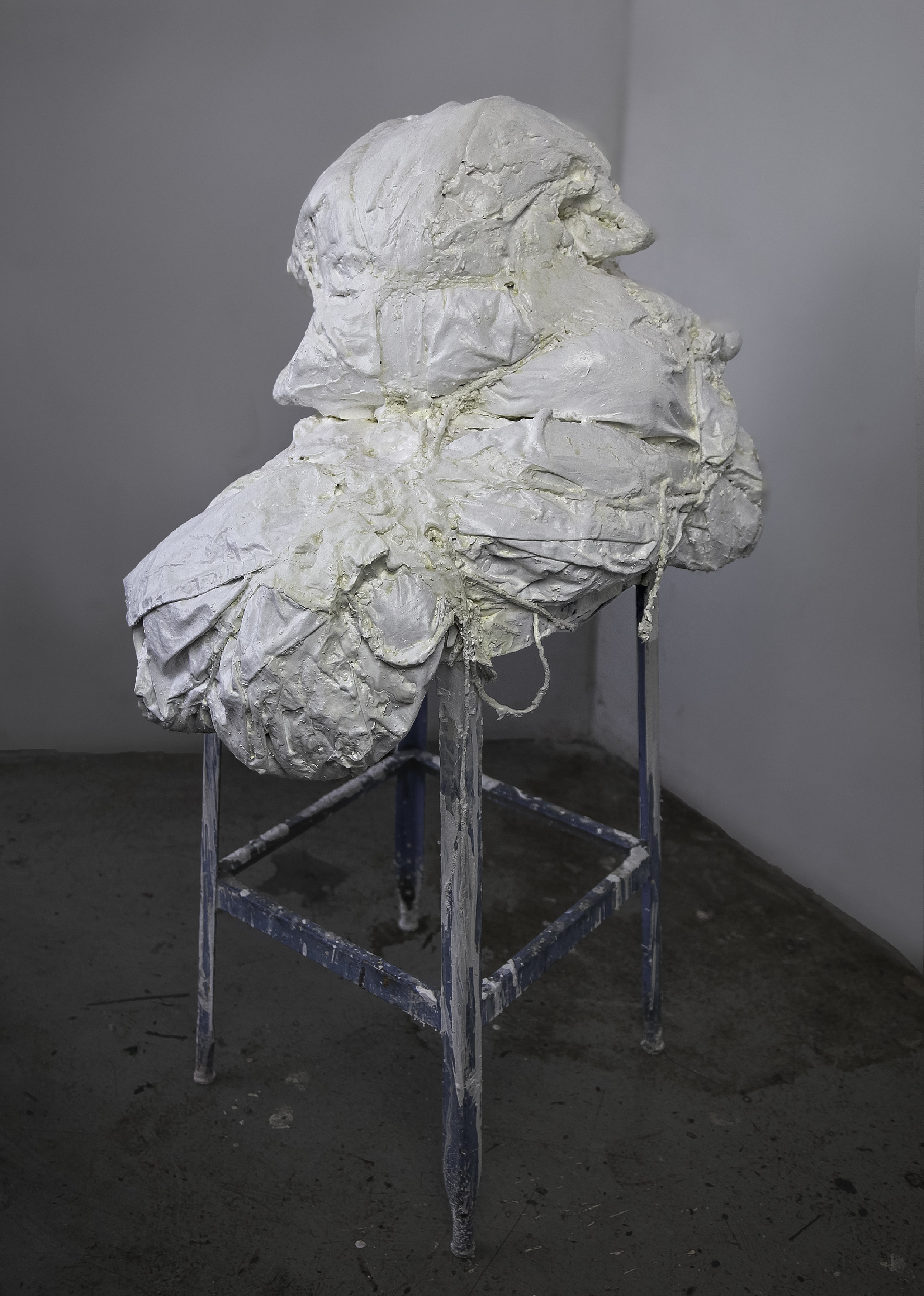 Permanence,   2016. Fabric, cord, plaster and found object, 25 x 20 x 42 inches ( 63.5 x 50.8 x 106.68 cm).