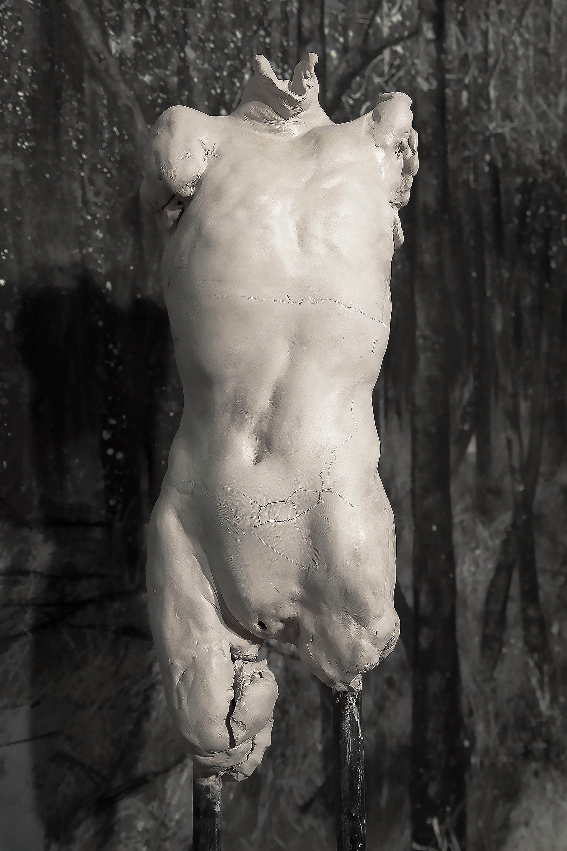 Aletheia II,   2015  .   Clay, metal and plaster, 50 x 15 x 15 inches (127 x 38 x 38cm).