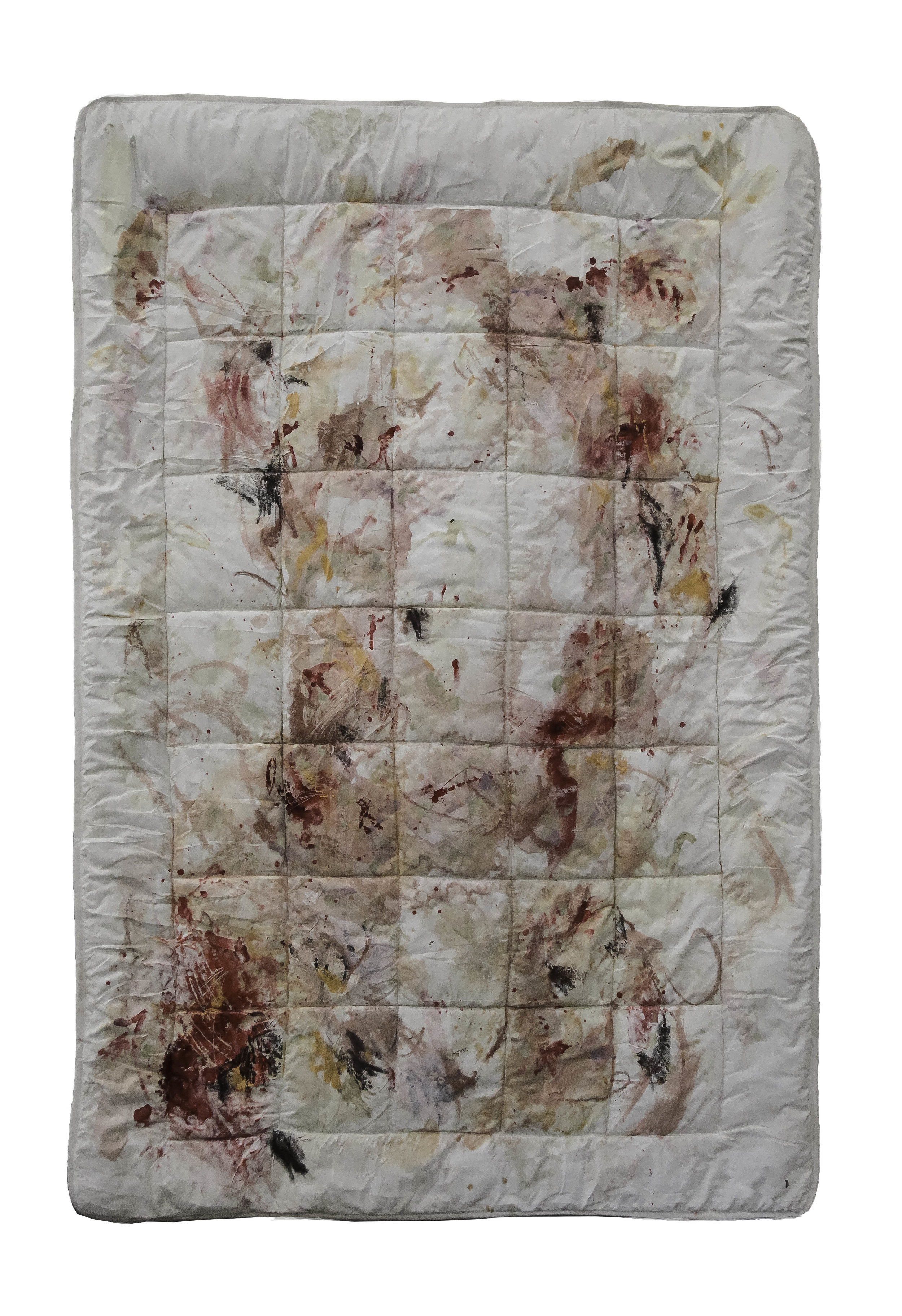 Covers , 2016. Wax and ink, encaustic,  blood on used bed cover,  53 x 78 inches (135 x 200 cm).