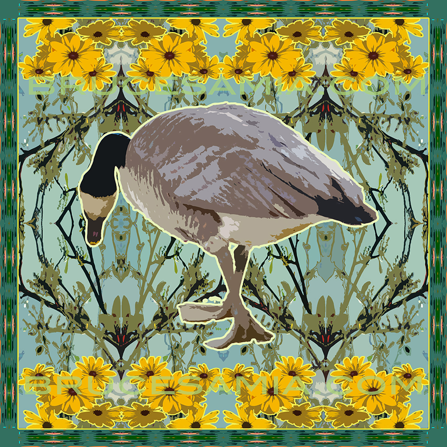 DUCK WITH FLOWERS  TILE