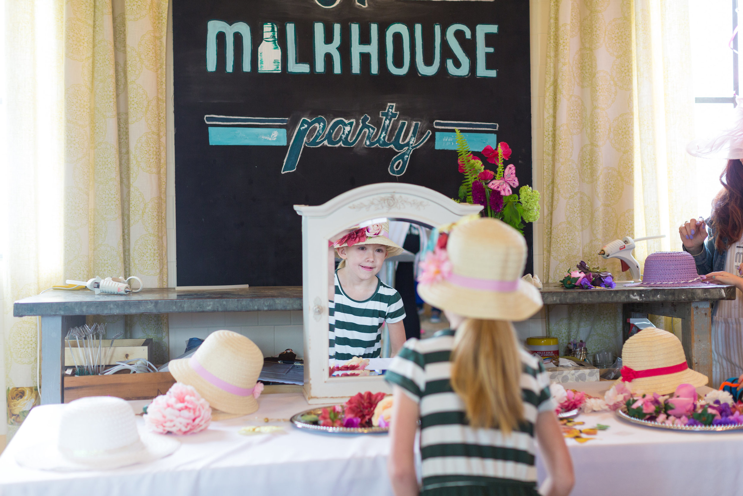 Mommy & Me tea party mirror set up at A Milkhouse Party