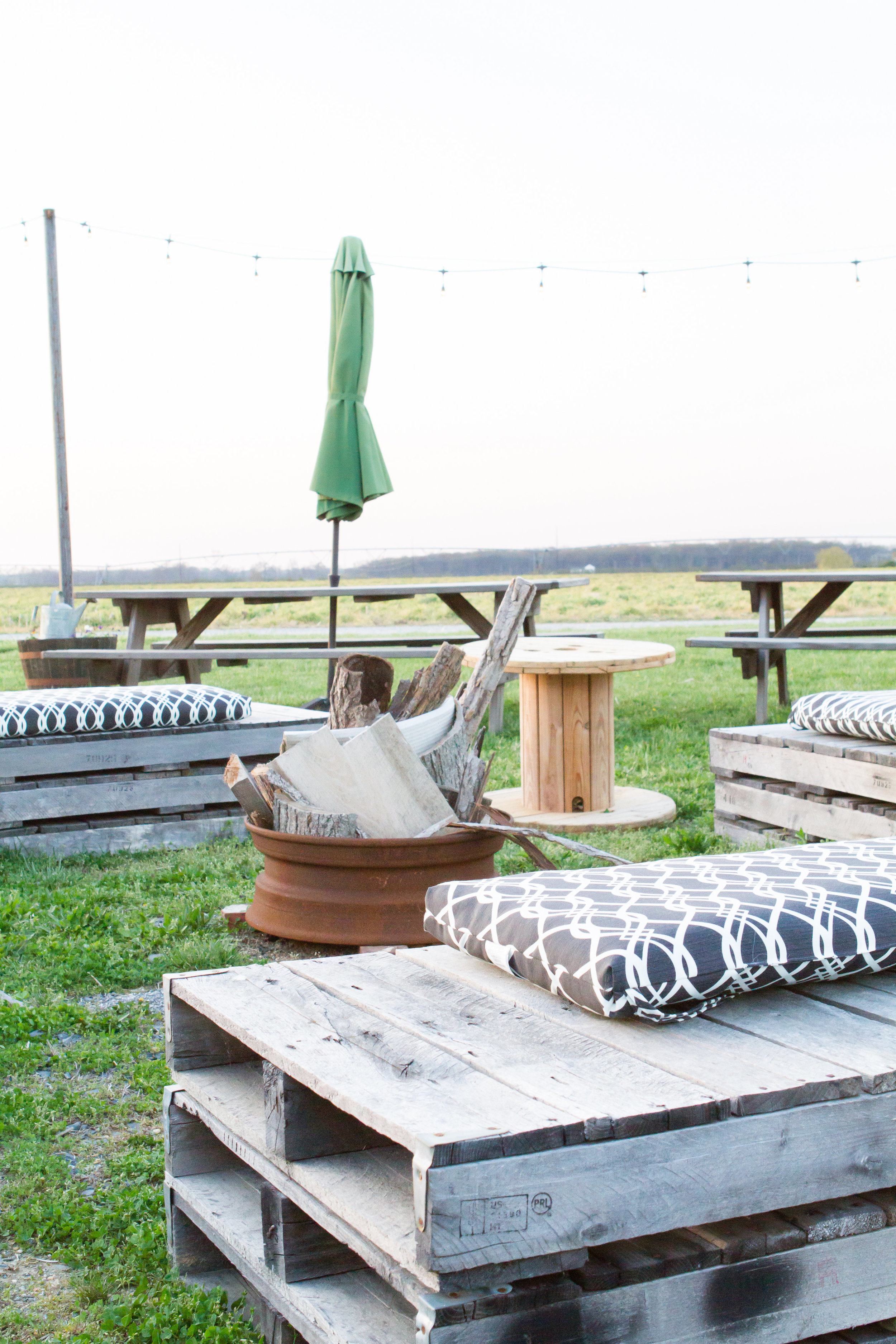 outdoor fire pit at A Milkhouse Party