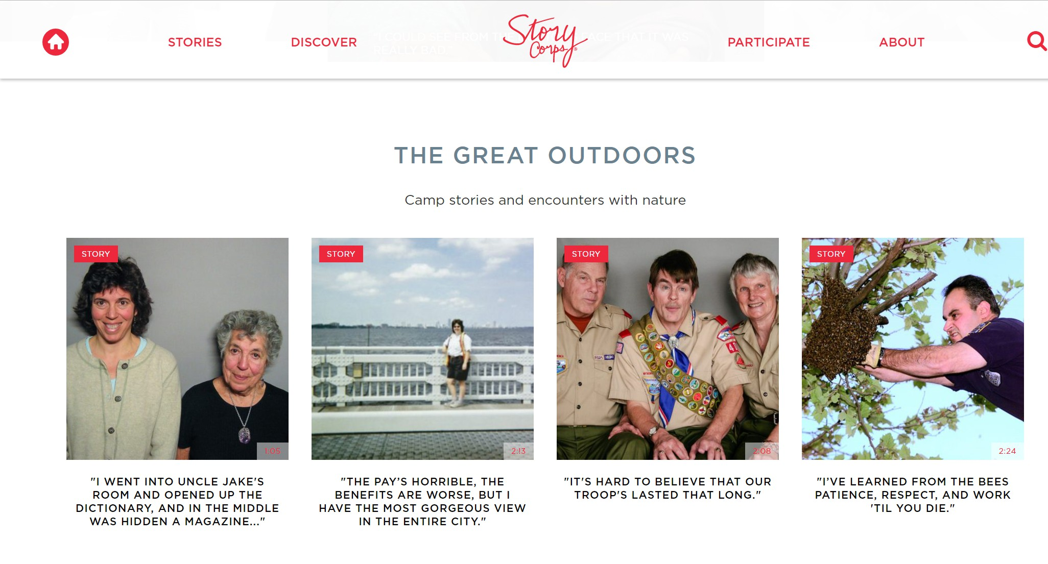 """The Story Corps website has revolving story """"themes"""" displayed on their homepage."""