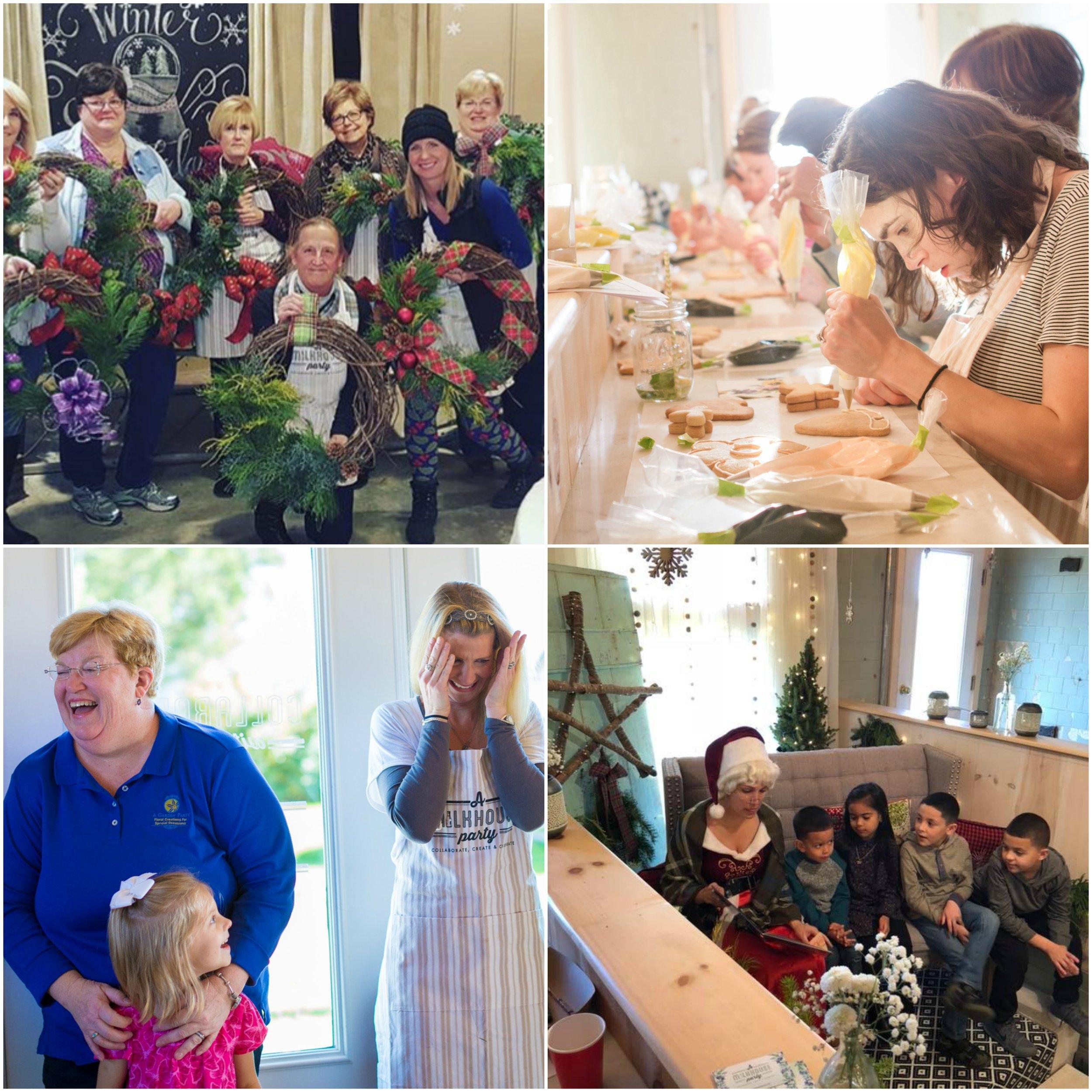 Upper Left :  A Milkhouse Party Instagram , wreath-making workshop ; Upper Right :  Krystal Deegan Photography , cookie-decorating workshop  Bottom Left :  T  ami & Ryan Photography , grand opening ; Bottom Right :  Mrs. Clause Storytime