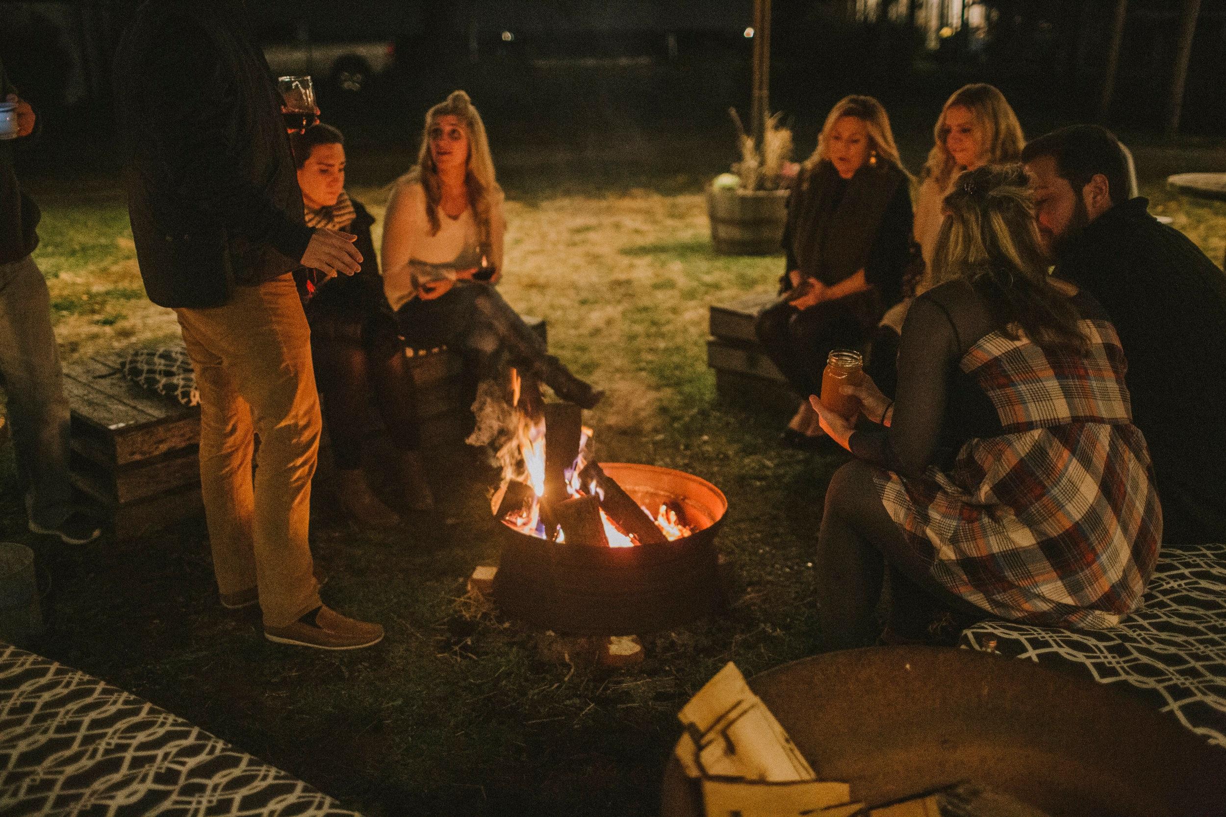 Guests linger fireside