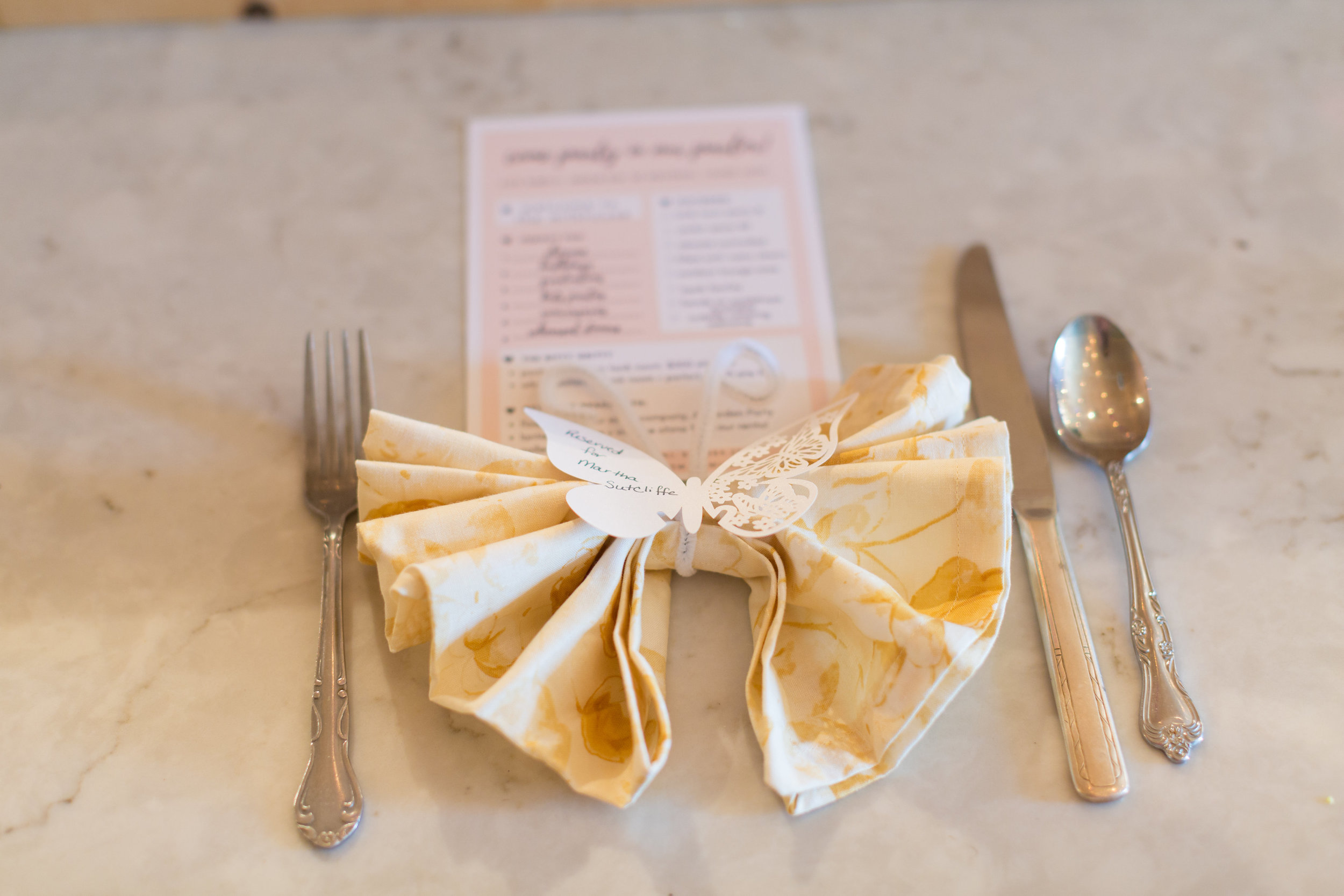 place settings for butterfly tea party
