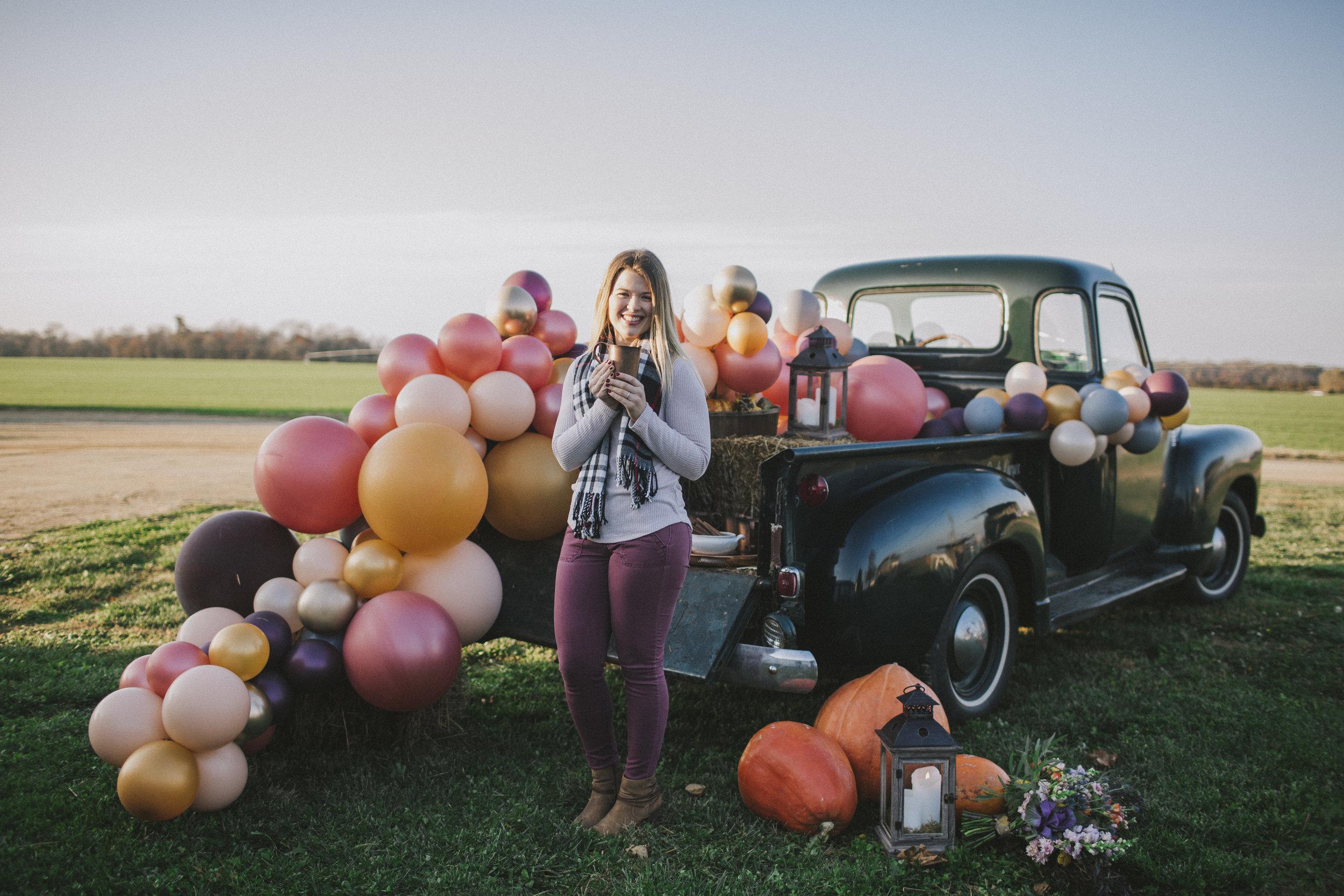 Balloon garland at cocktail hour