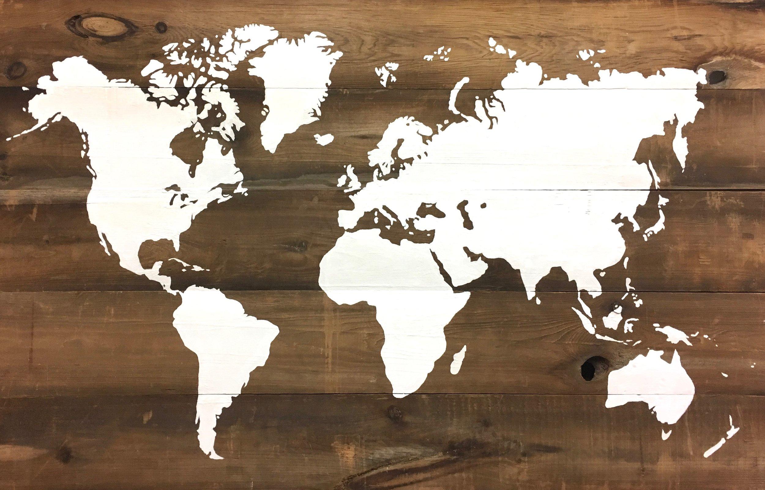 World Map on Barn Board