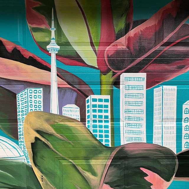 I recently had the opportunity to complete this mural in my lovely neighbourhood. @torontojunction (Thanks Heather Cameron to you and your wonderful family!) I've had a lot of thoughts about greener cities and the direction the world is going in.  This and  many other designs of mine have been inspired by these concepts and worries. It's really easy to do nothing and even easier to get down about what's happening almost everywhere you look. I decided to take a more uplifting and hopeful approach with this mural, to remind us of our impact on the environment and its on us. Using bright colours and playful lines, I hope to make for more approachable conversations about what we can all do, even if it's just spreading awareness, we have to start somewhere. #Toronto #mural #muralart #torontoartist #greencity #canadianartist #change #awareness #try #art #painting #environmentdesign #environmentalart #urban #city #illustration #teal #plants #breathe #wanderlust #savetheamazon #savetheworld #cntower #skyline #rubberplant