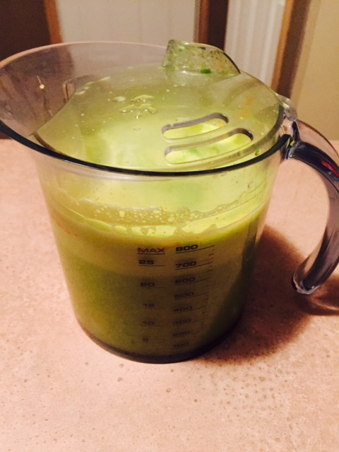 4 Oranges, 2 cups Kale, 1/2 Cucumber, 1/2 apple