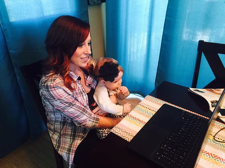 I was being interviewed with the baby on my lap at my kitchen table!