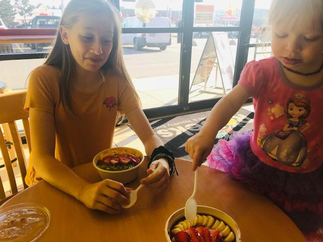 The girls enjoying their bowls at Robek's!