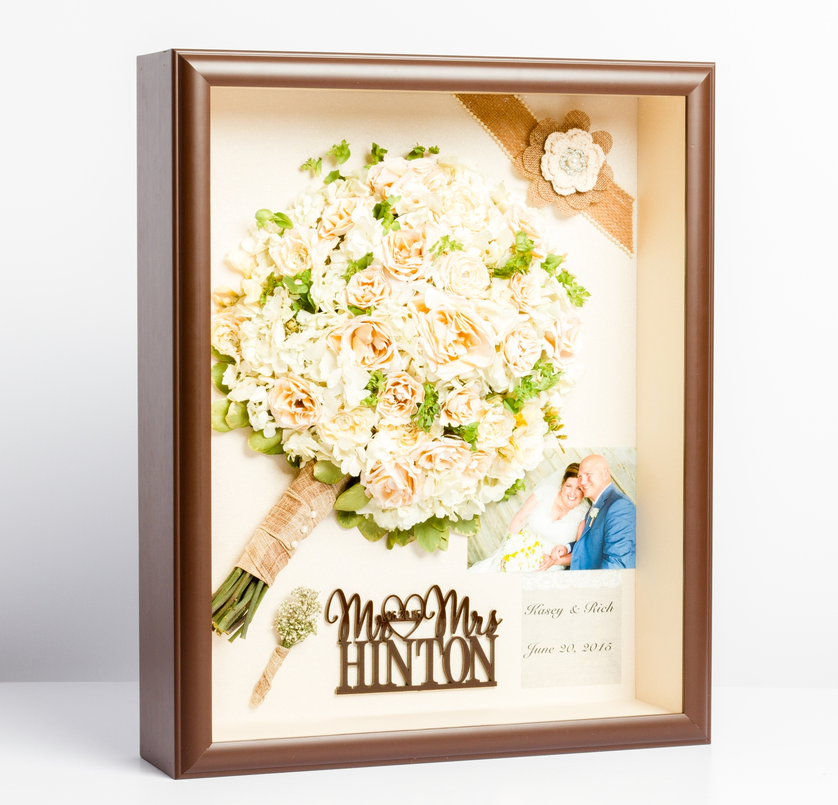 "Above is a recreated bouquet in a ""storybook"" style design. The bride has chosen to also include the grooms boutonniere, cake-topper, and invitation."