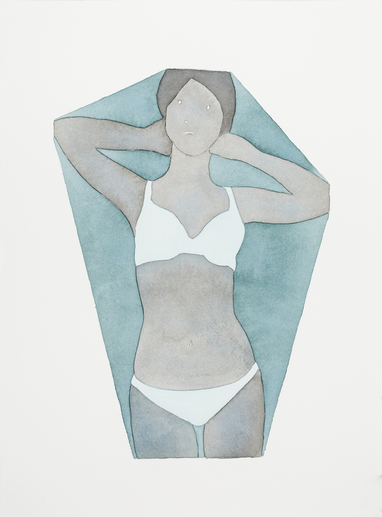 """dan_gluibizzi_Changing Room 2011 Watercolor and acrylic on paper 11"""" x 15"""".jpeg"""