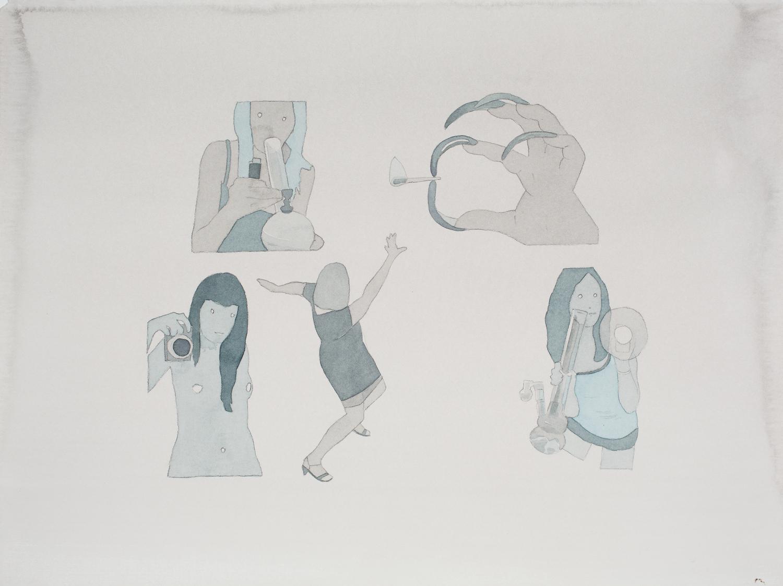 "dan_gluibizzi_Long Weekend 2010 Watercolor and acrylic on paper 11"" x 15"".jpeg"