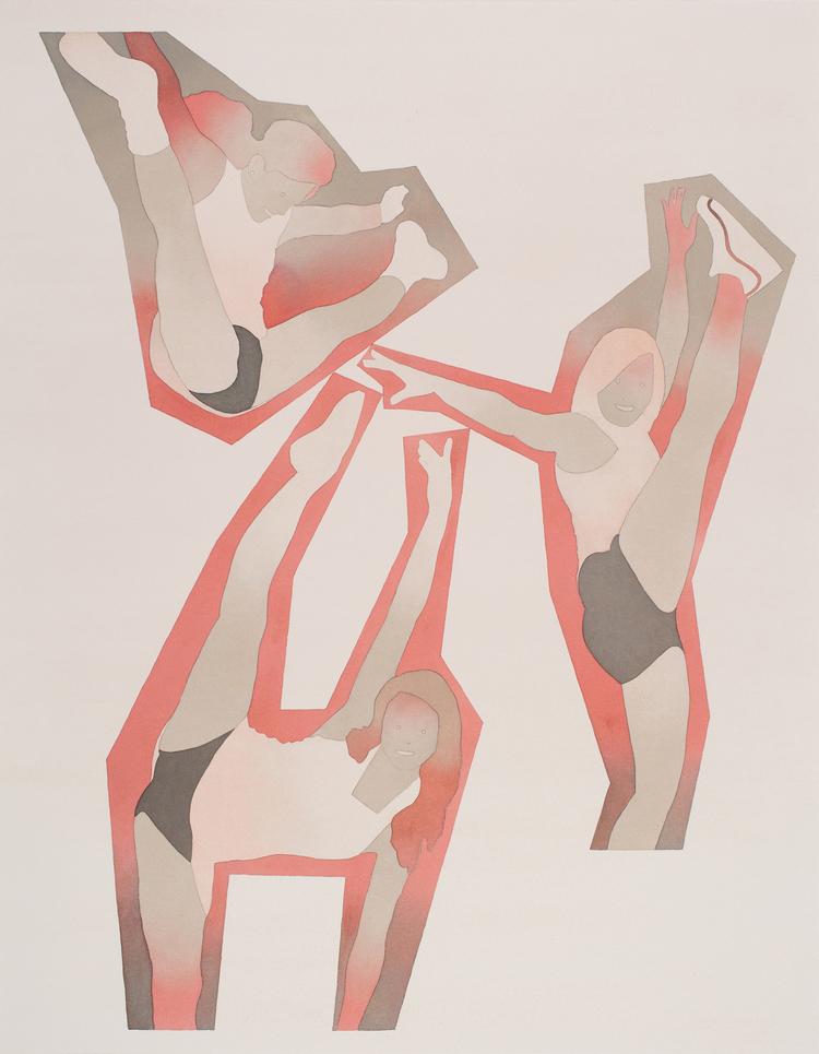"dan_gluibizzi_One, Two, Three 2015 Watercolor and acrylic on paper 36"" x 28"".jpeg"