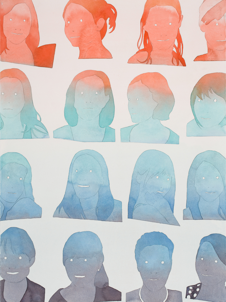 """dan_gluibizzi_Sixteen Twentysomethings 2015 Watercolor and acrylic on paper 30"""" x 22"""".jpeg"""