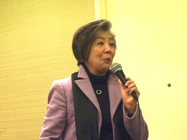 ゲストスピーカー、鵜浦真紗子さんの「復興の力『ふるさと東北の粘り強さを信じて』」の公演