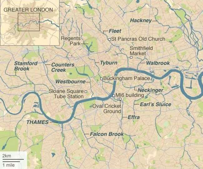 Source: Based on river courses identified in 'Lost rivers of London'. Barton 1992