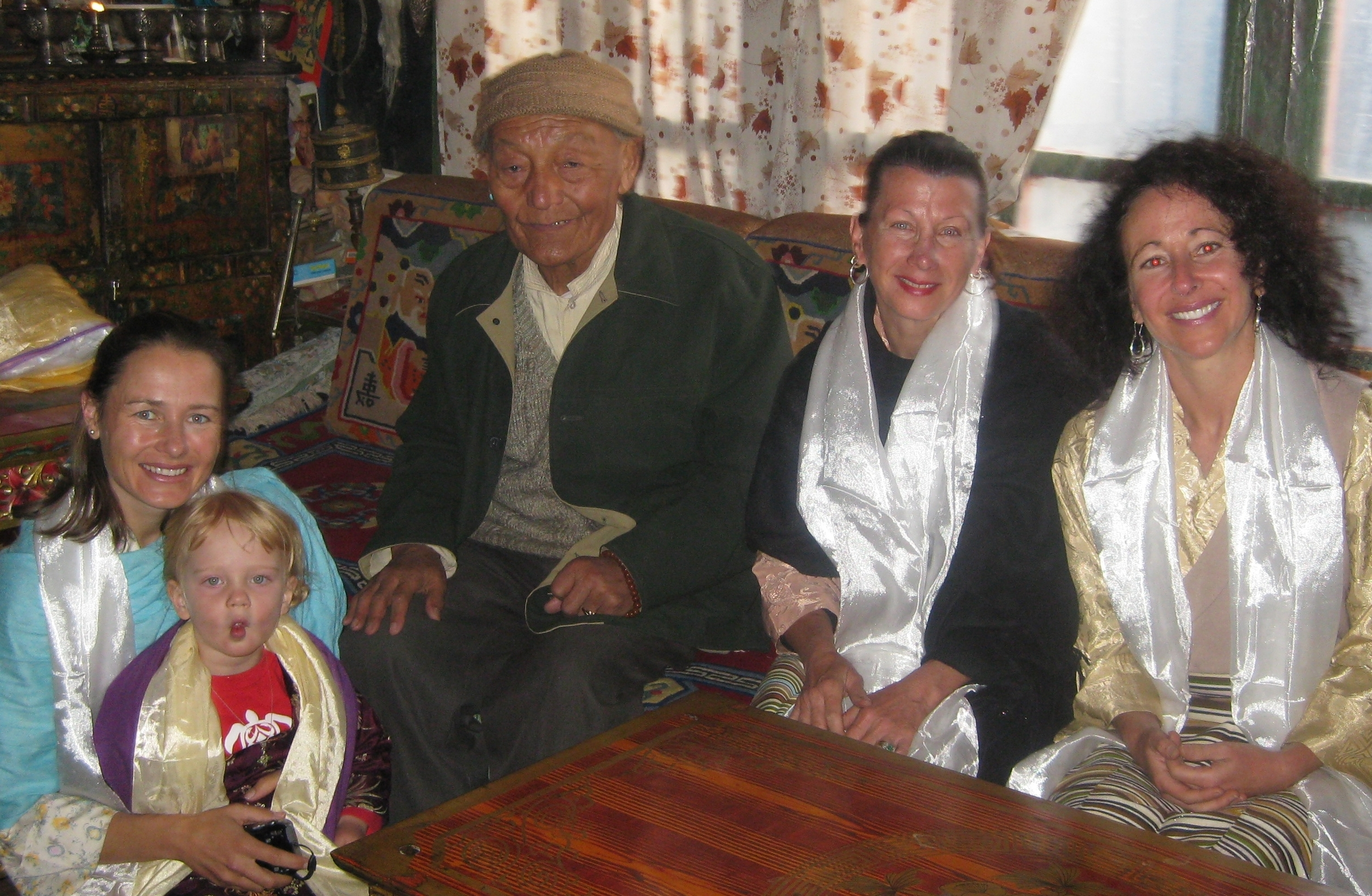 Drdak, Craig, and Clearfield with Raja (king) Jigme Palbar Bista in Lo Monthang, 2008.