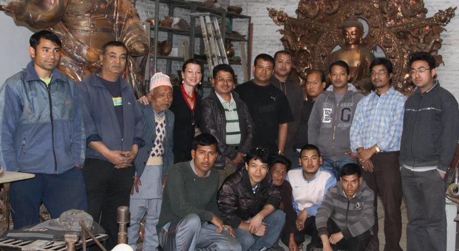 Drdak with Rudra Raj, his sons Rajkumar, Drdak's guru Rabindra and Rajendra, grandson Swarup and artisans of the Shakya's atelier in 2012.