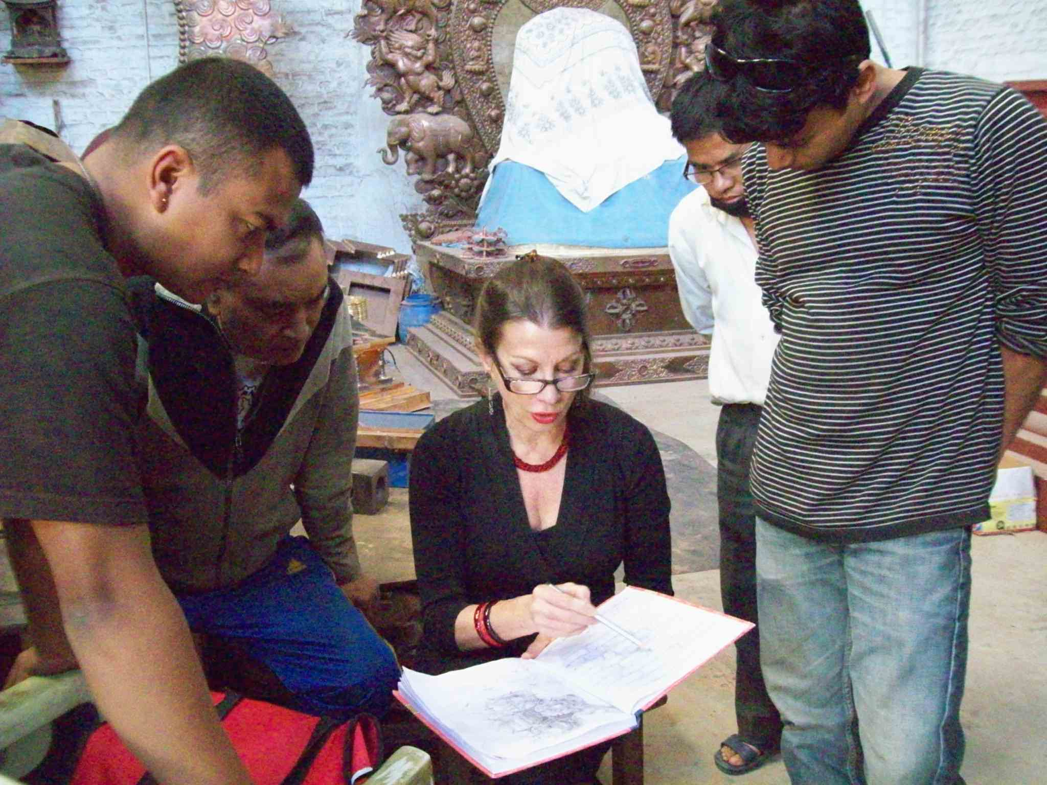 Drdak explains new project to the artisans of Rabindra Shakya's Image Atelier, Patan, 2015.