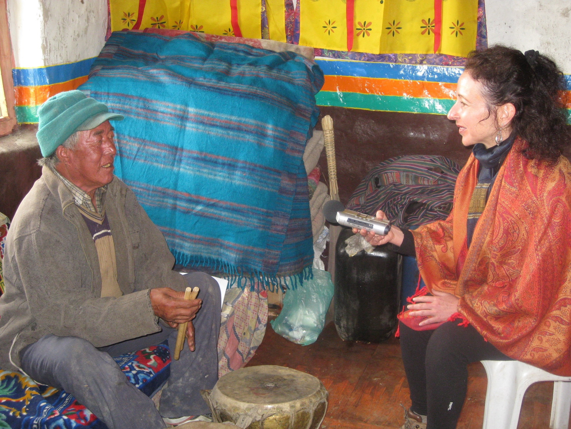 Composer Andrea Clearfield records the songs of Tashi Tsering, the last Royal Court singer to the King and Queen of Lo Monthang, for The Lungta Collaborative, 2008.