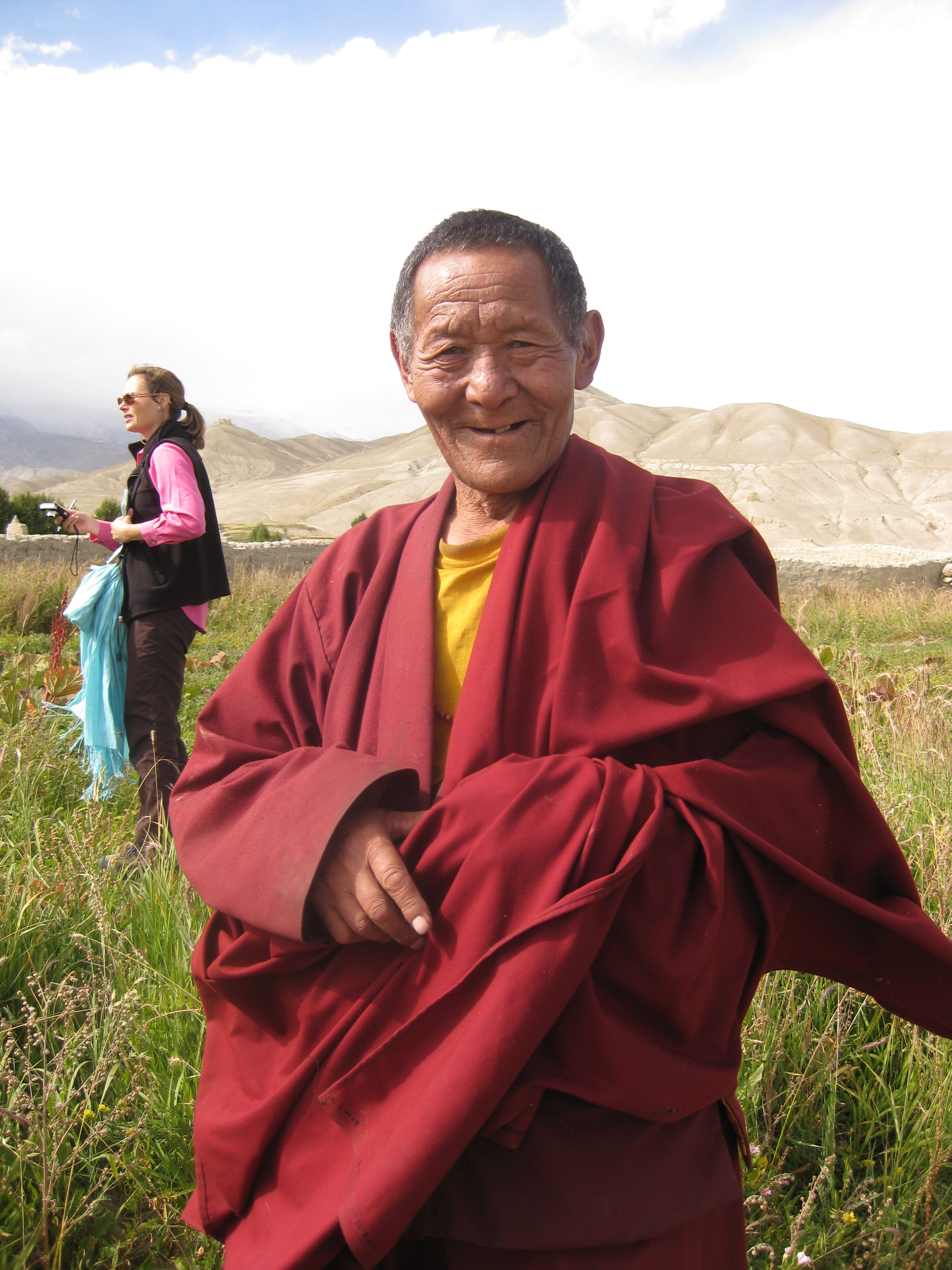 A Loba monk in a medicinal plant field, Lo Monthang, 2008.