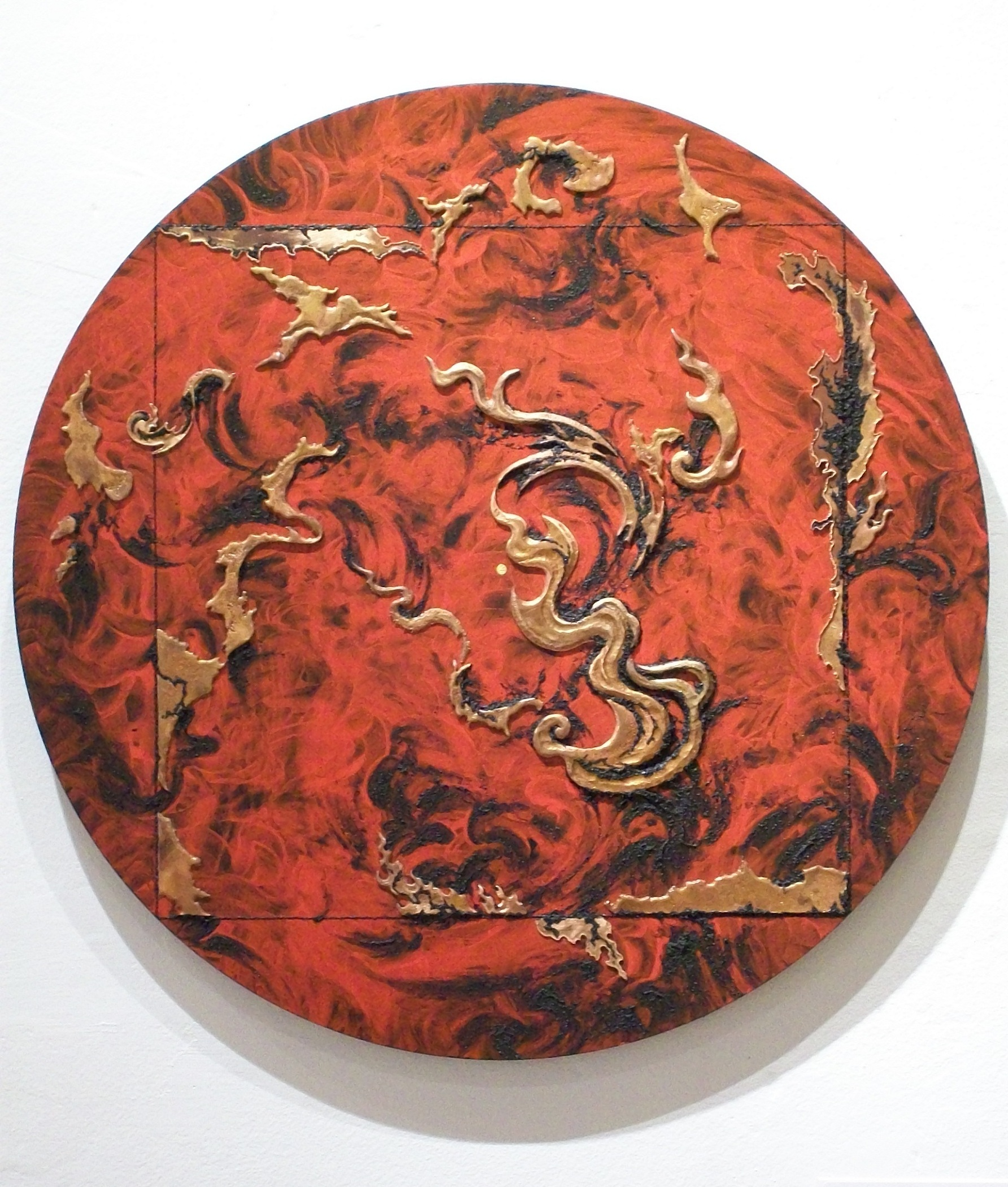 BURNING WORLD 1 , 2010, copper repoussé elements, mineral particles and threads, acrylic on archival wood panel, 20 diameter x .75 inches.  Collection of Berthe and John G. Ford.