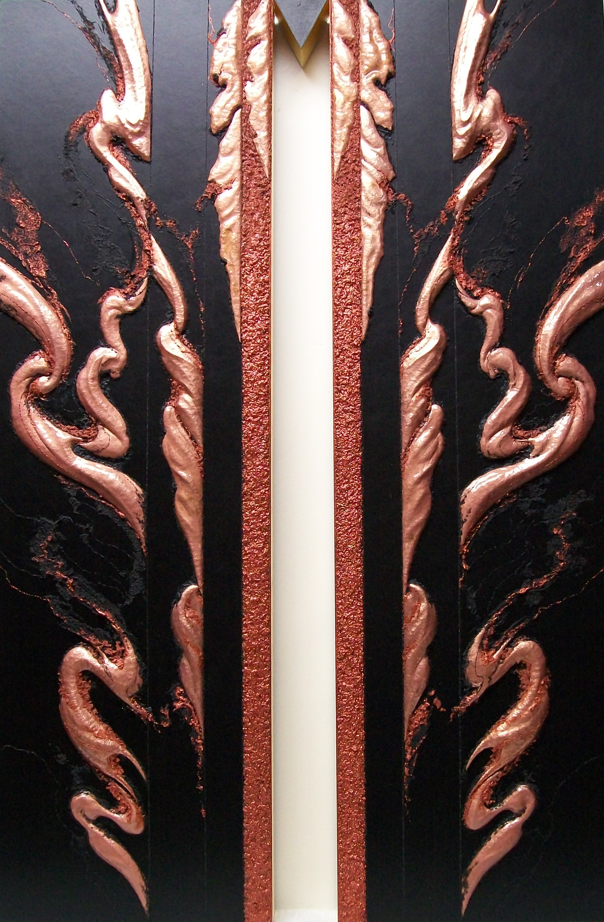 SHAKTI TRIPTYCH, Sattva , 2013. Central image, copper repoussé elements, mineral particles and threads and 23K on archival wood panel.  Collection of JoAnn and Robert D. Huth.