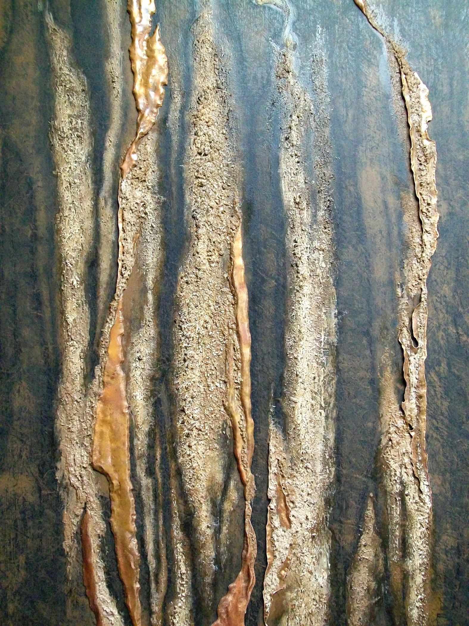 DETAIL a,  YARA DIPTYCH ,  Yara 1 , copper repoussé elements, mineral particles and acrylic on archival wood panel,