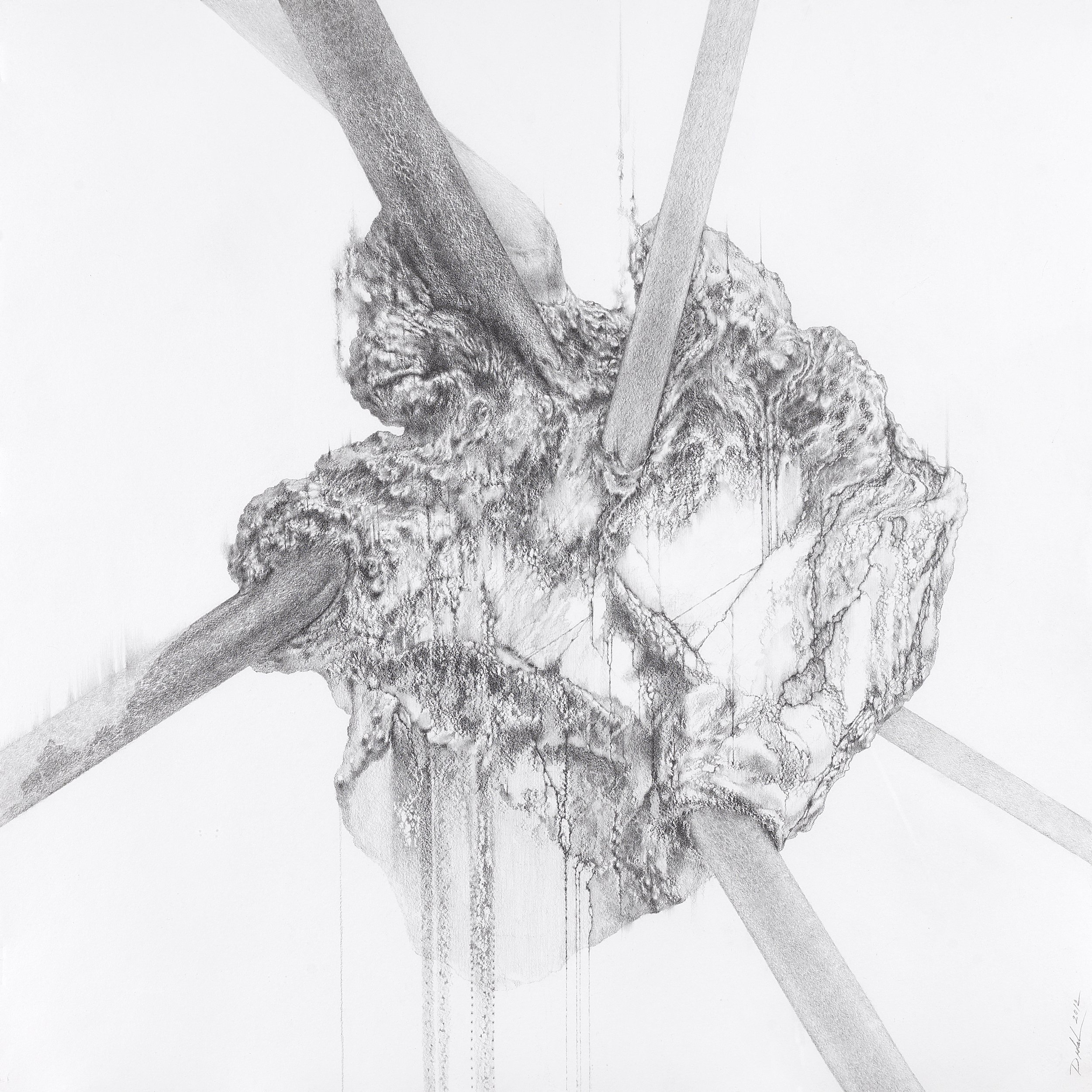 BREATHING STONE , 2014, graphite pencil on Twinrocker handmade paper, 22 x 22 inches