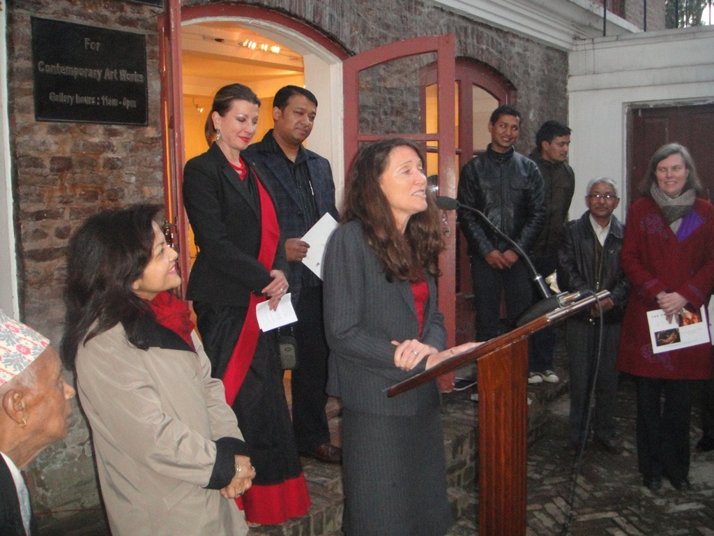 U.S. Deputy of Mission Patricia Mahoney, SAG Dir. Sangeeta Thapa and USEF Dir. Dr. Laurie Vasily, opens Drdak's Fulbright exhibition with Rabindra Shakya at Siddhartha Art Gallery, Kathmandu, 2012.