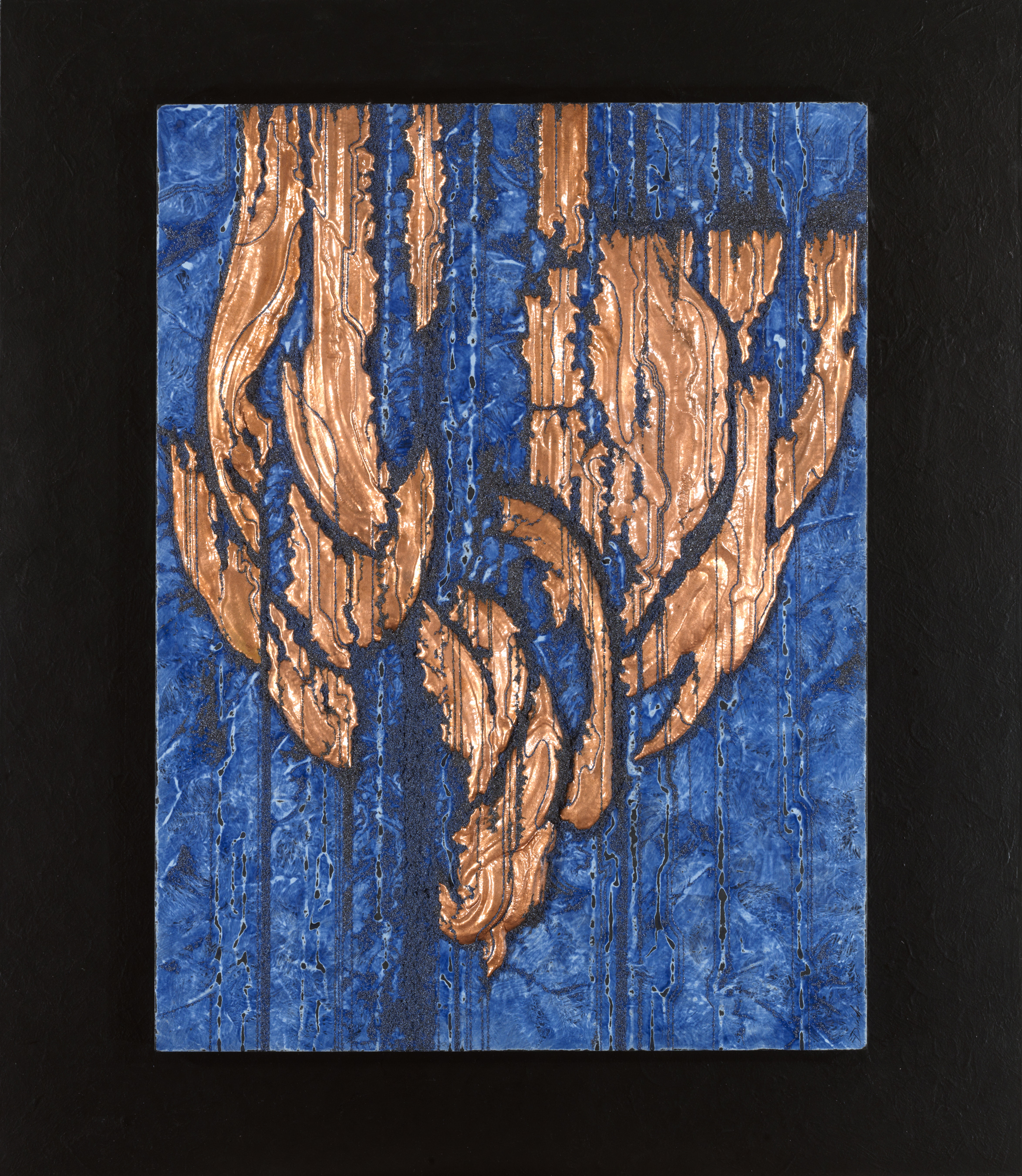 WEEPING BANYAN 3 , 2015, 30 x 26 x 2 inches. Copper repoussé elements, acrylic mineral particles and threads, and acrylic on wood panel.