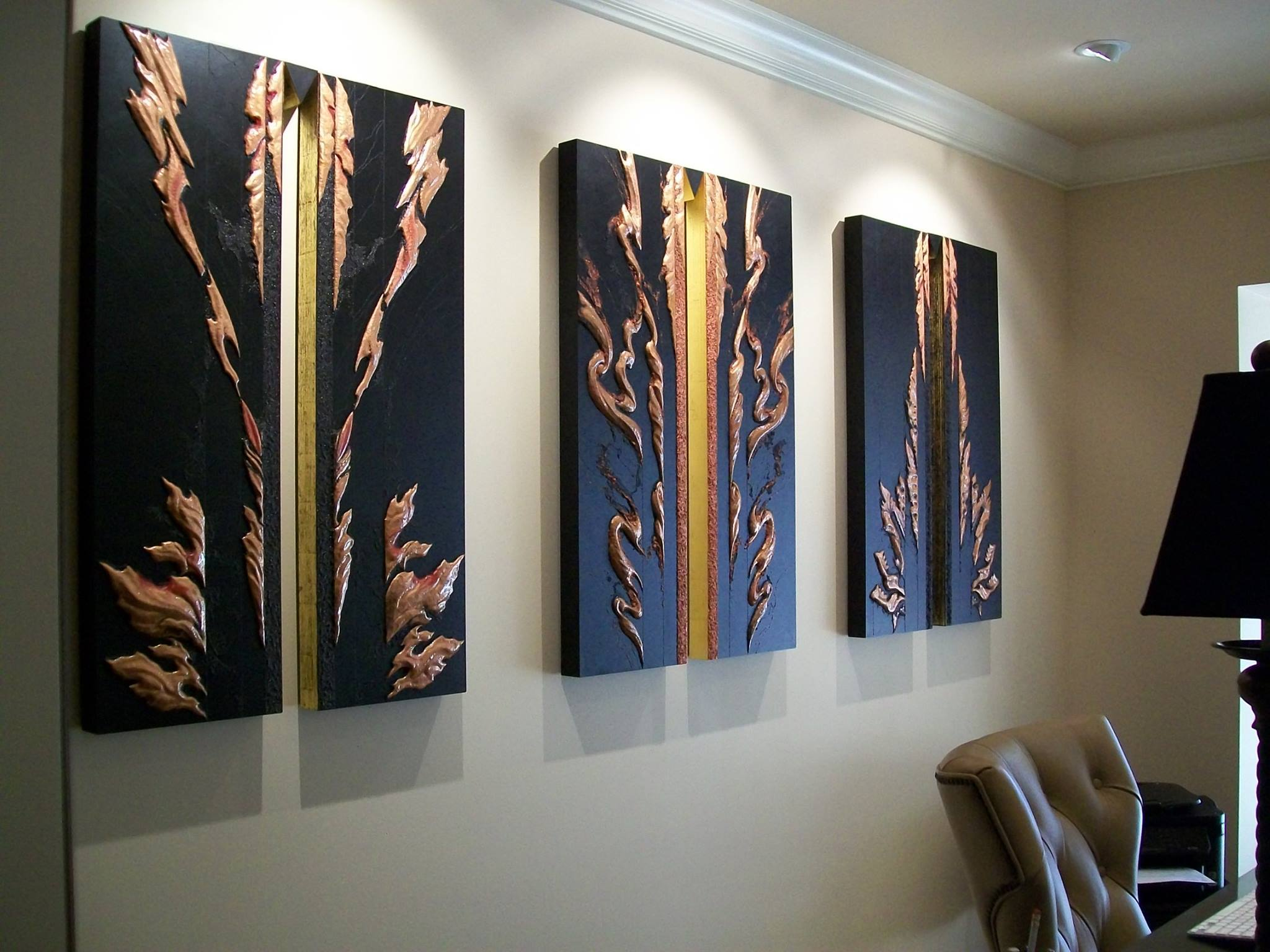 SHAKTI TRIPTYCH , installation 2016. Collection of JoAnn and Robert D. Huth  Three works each 40H x 27w x 2D inches.