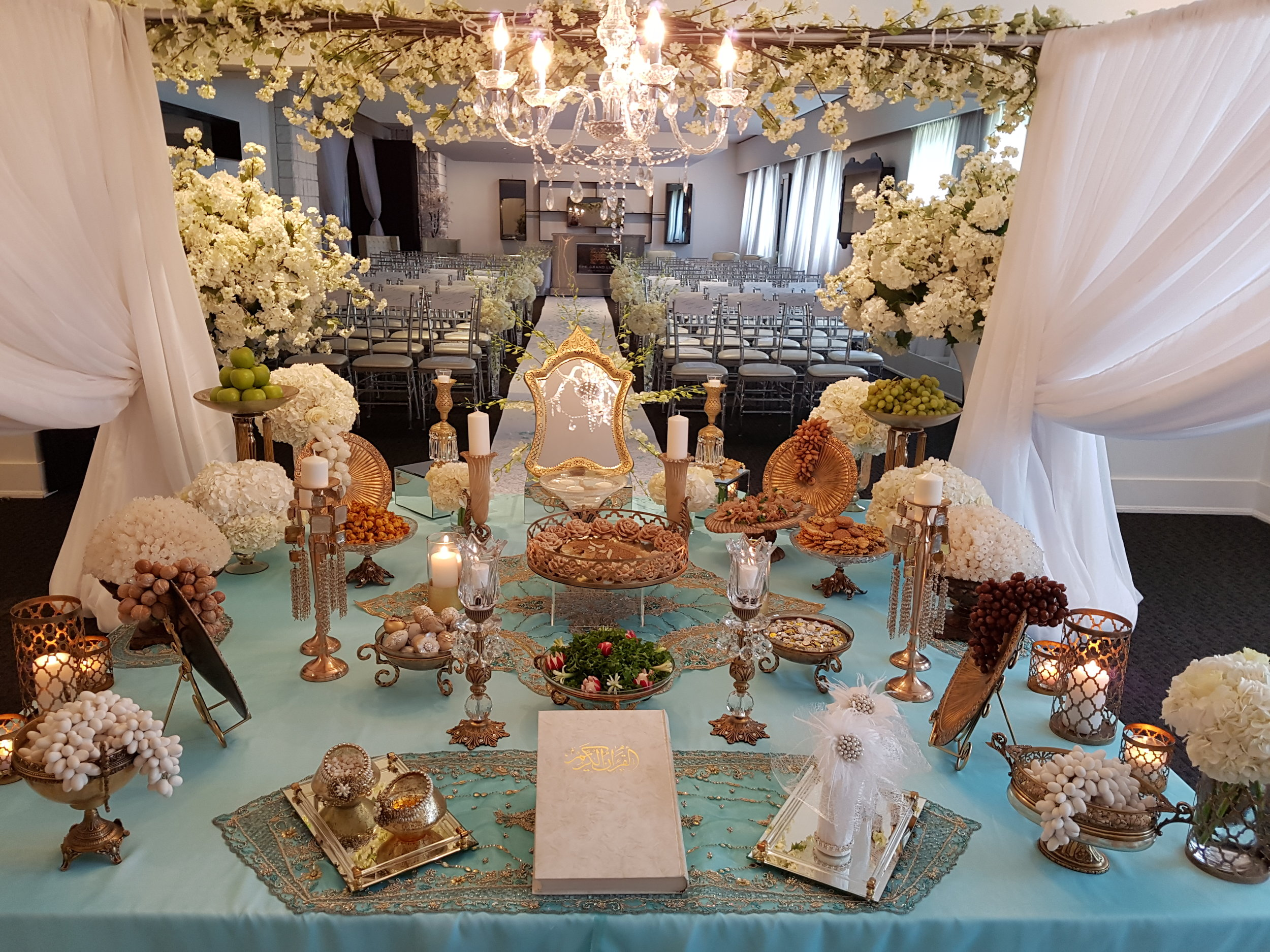 Antique with Turquoise Theme Sofreh set up in Grand Luxe Event Boutique-Toronto