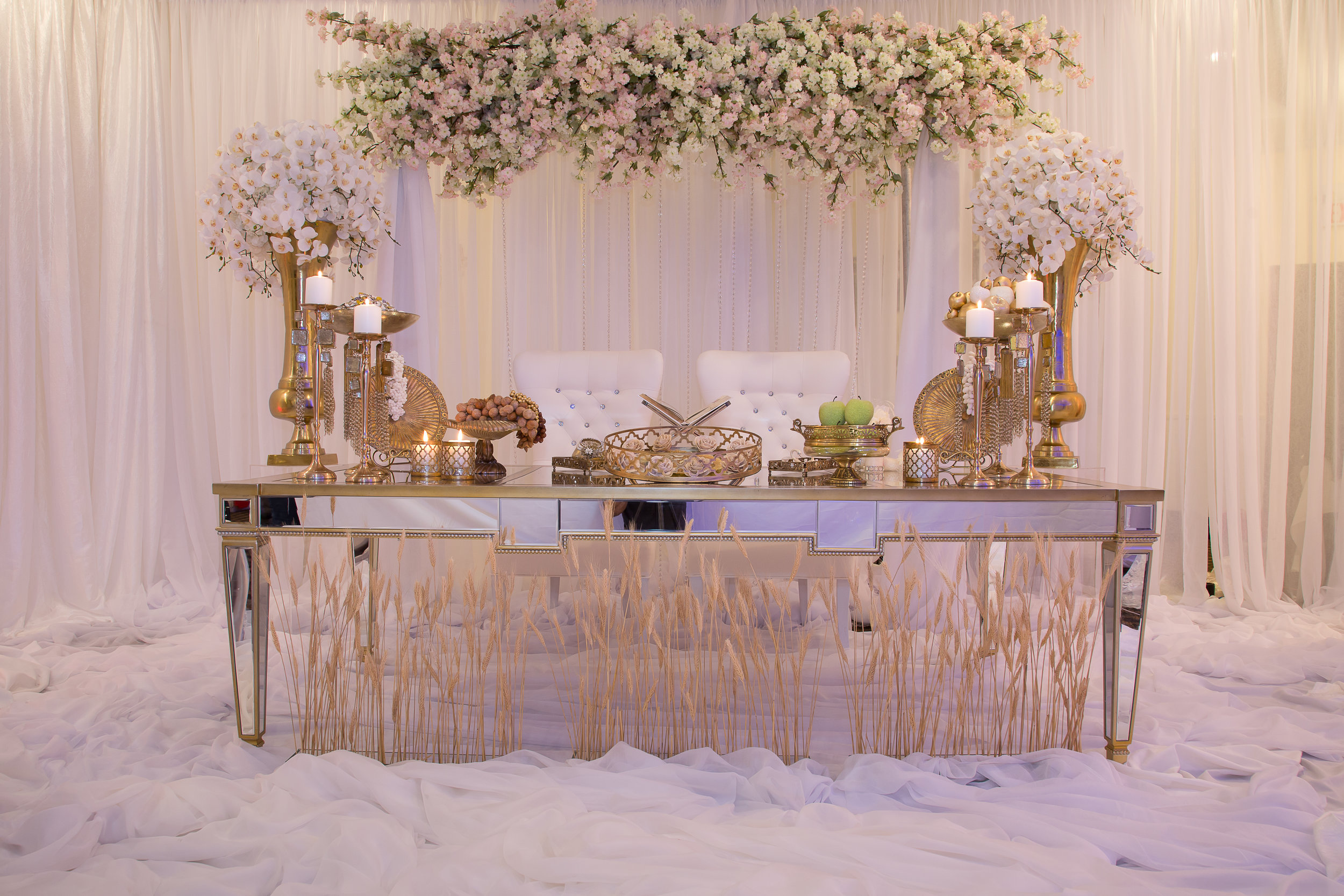 Antique Engagement Table in White Castle Banquet Hall in Concord-Ontario