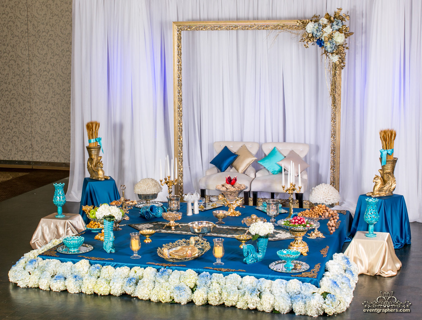 Gold/Turquoise Sofreh set up in Crystal Fountain Event in Markham-Ontario
