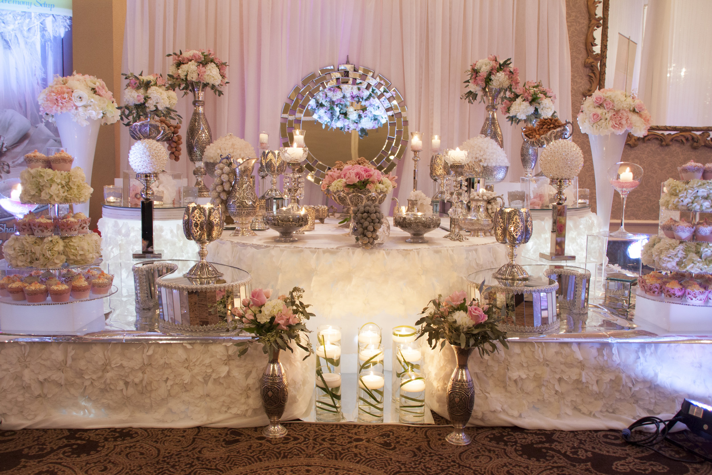 Silver Sofreh set up for 2014 Iranian Bridal Show in Crystal Fountain Event in Markham-Ontario