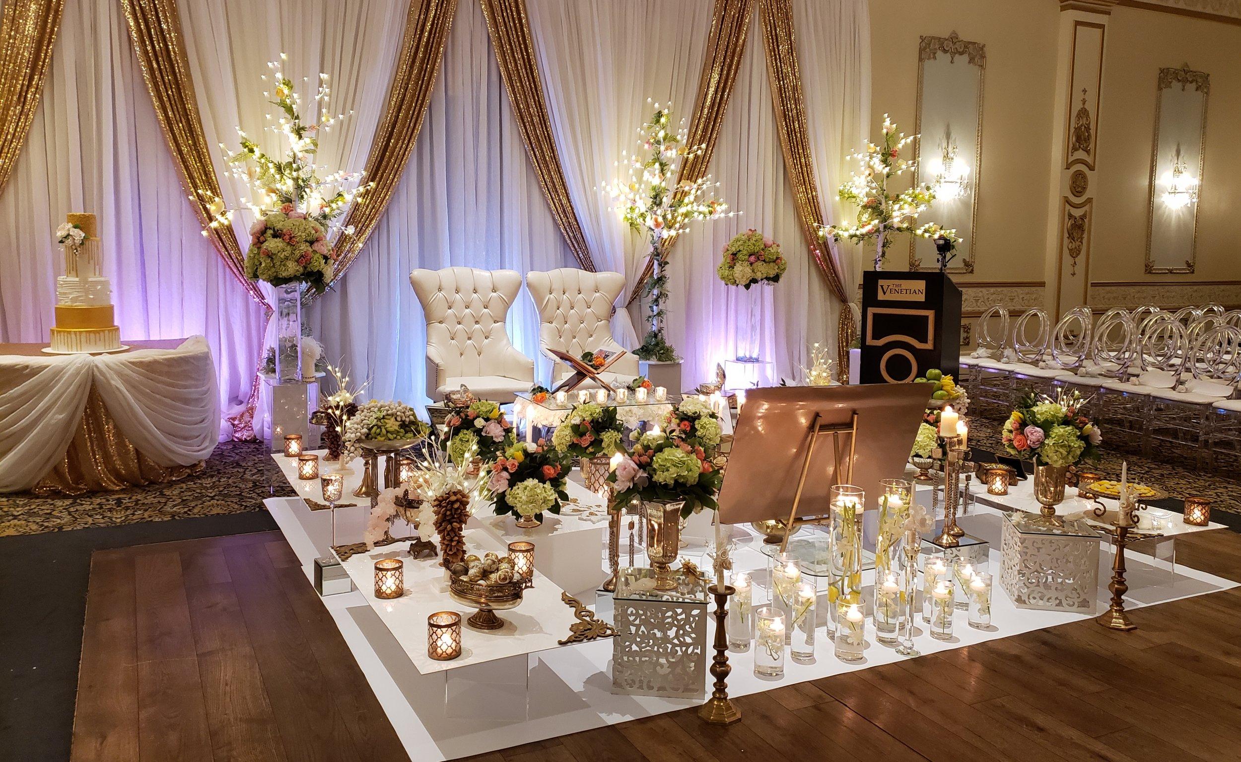 Antique with white vinyl - Venetian banquet hall