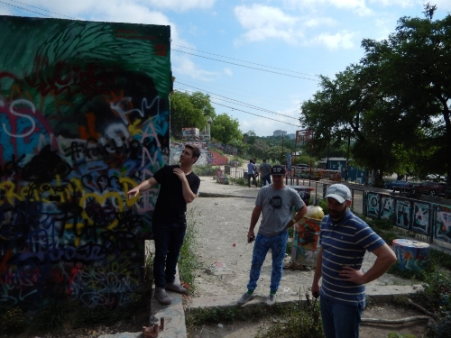 The SubVRsive team scouting at the HOPE Graffiti Park.