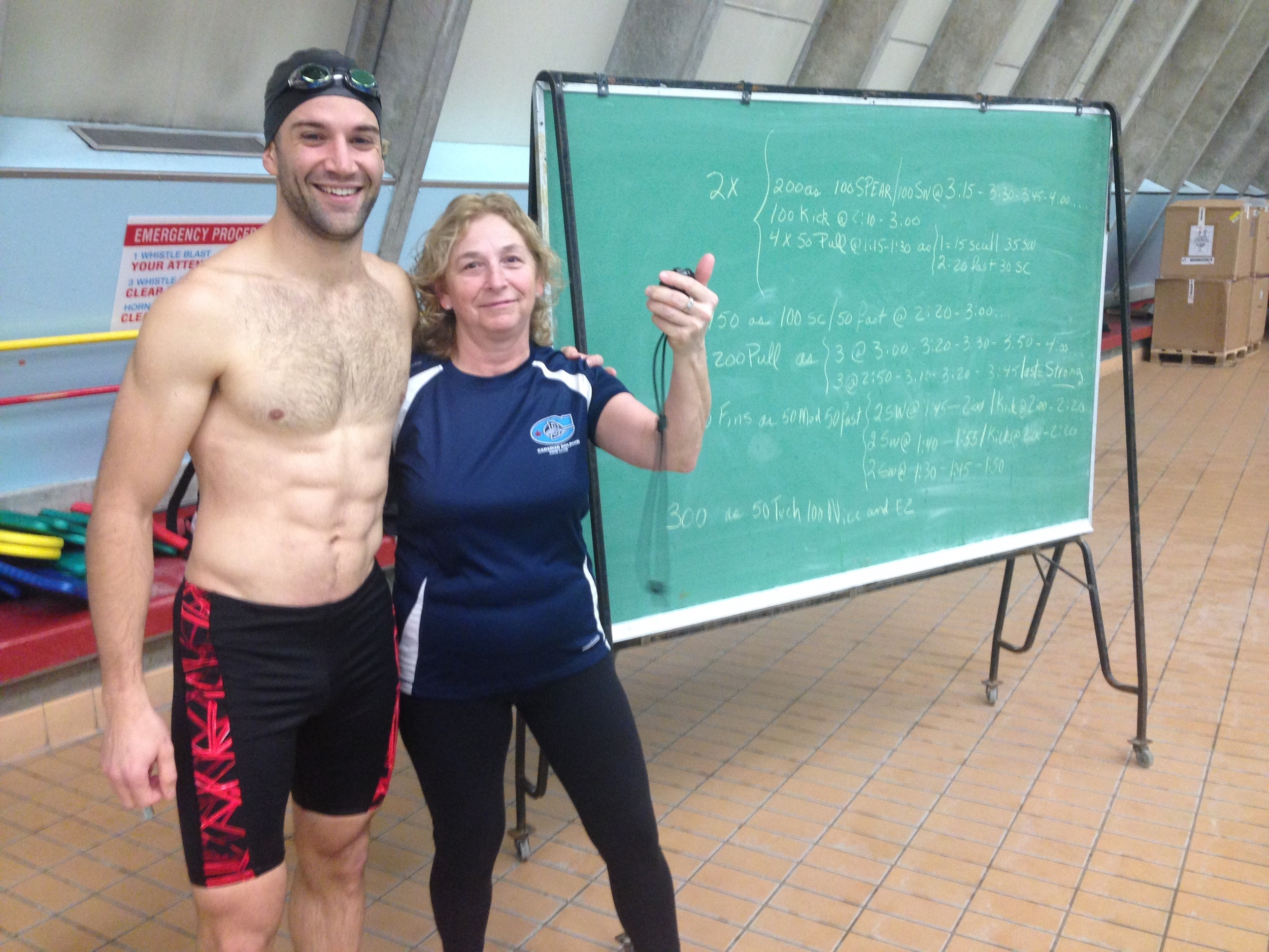 December 2013: At the Vancouver Aquatic Centre with Coach Therèse from the BC Dolphins