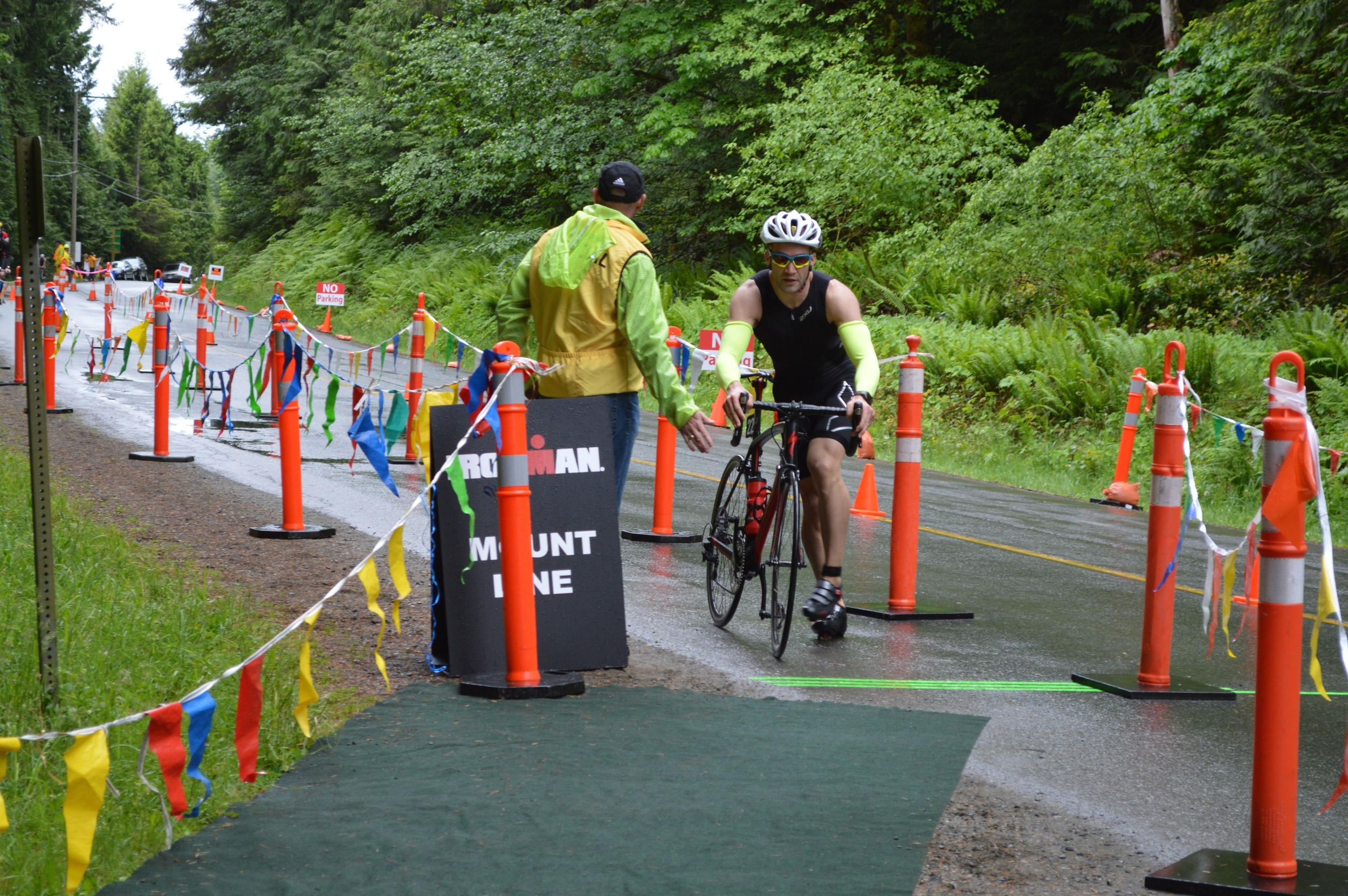 Dismount before the line!