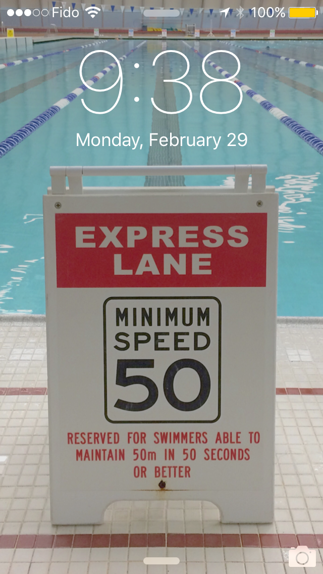 Ironman Canada swim goal: 3,800m in 3,800 seconds. Which means I need to be able to hold it down in this lane. And I'm reminded of it, every time I check my phone.