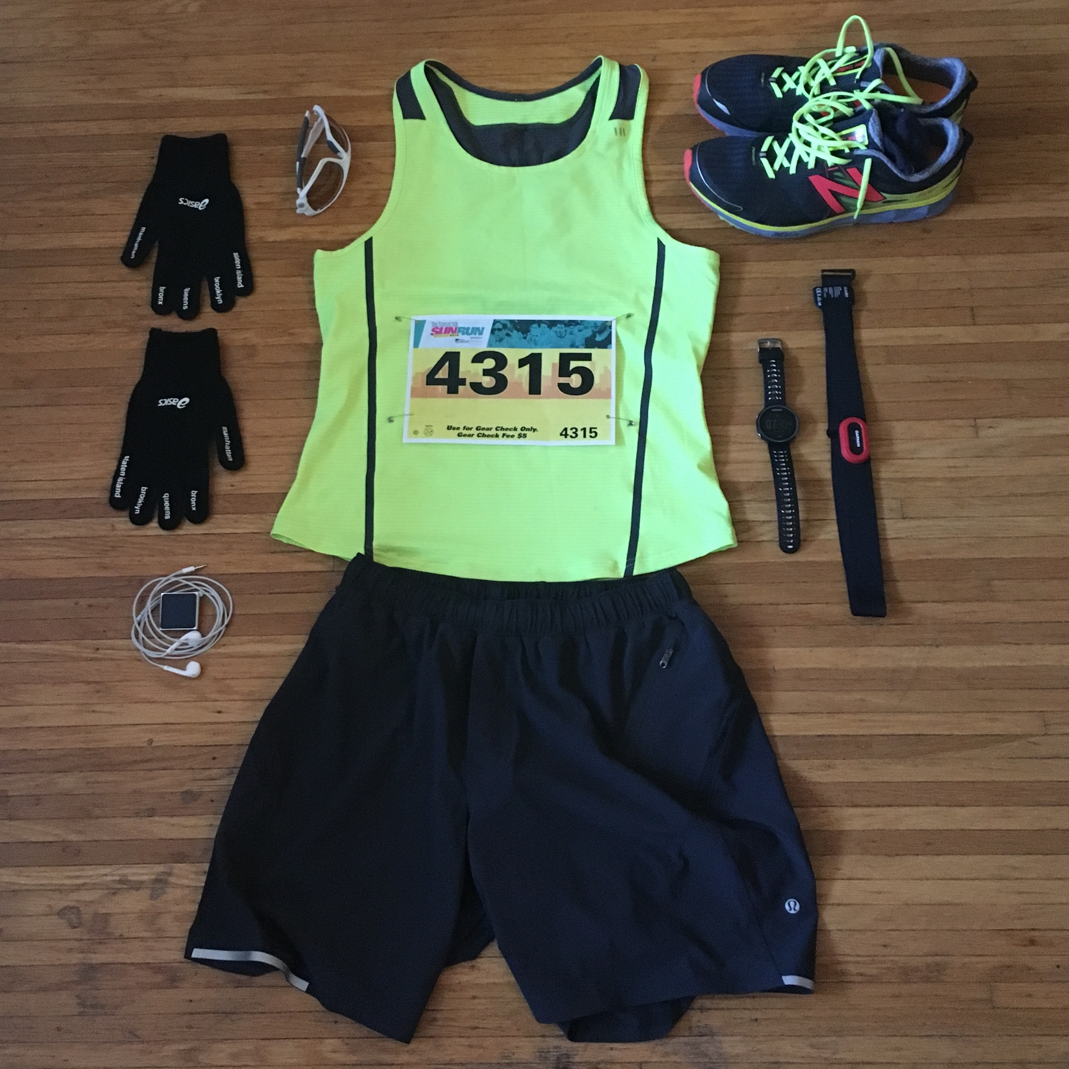 "Race Day Protocol – kit check : New Balance 1500v2 shoes. Garmin Forerunner 630 watch with HRM-Run strap. Lululemon 5"" Surge Shorts. Asics New York Marathon gloves. Oakley Jawbone sunnies. iPod Nano: the square one (the best Apple ever made!)"