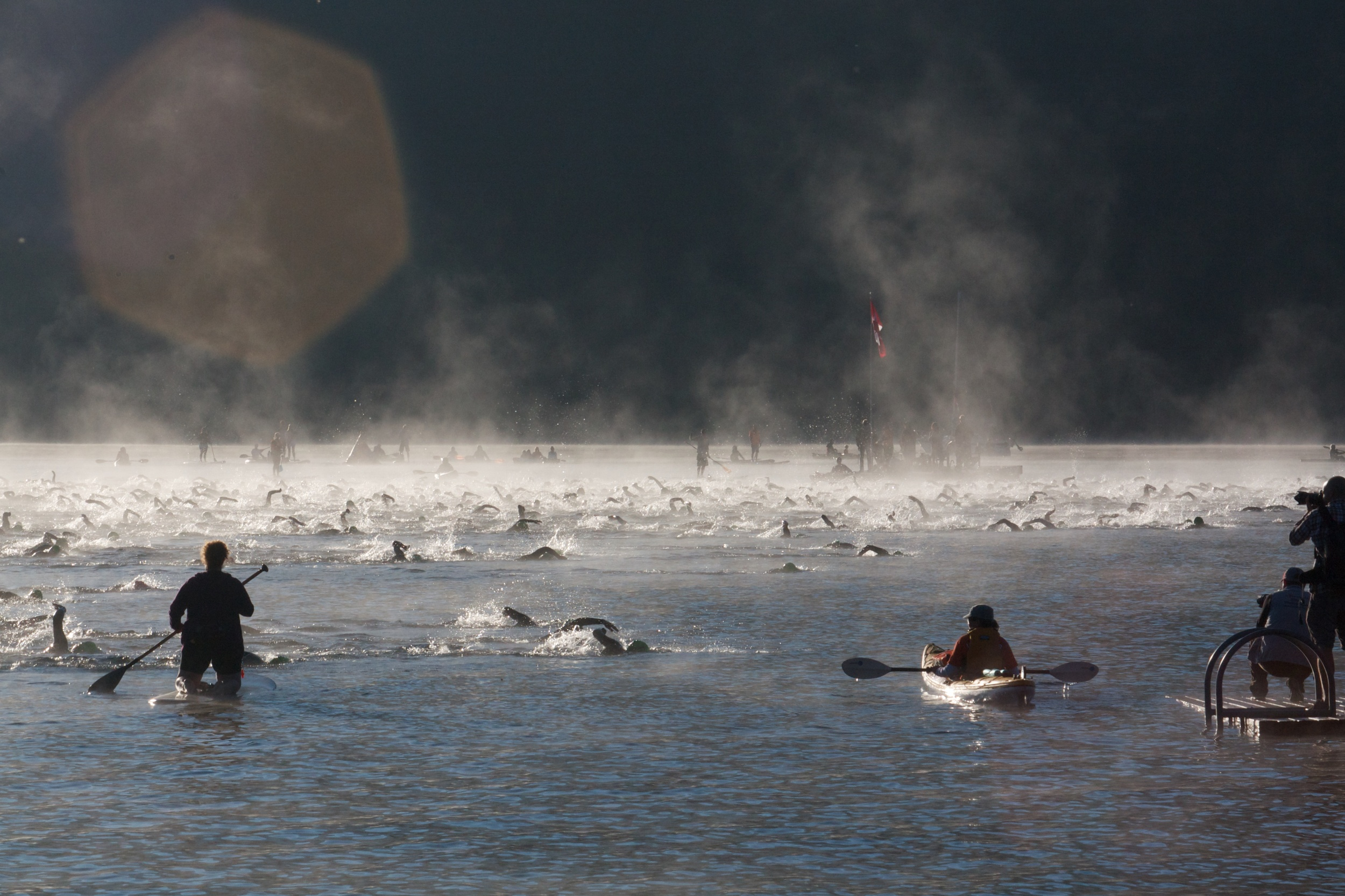 Swim start of Ironman Canada in Whistler, BC, in 2014. Big day ahead!