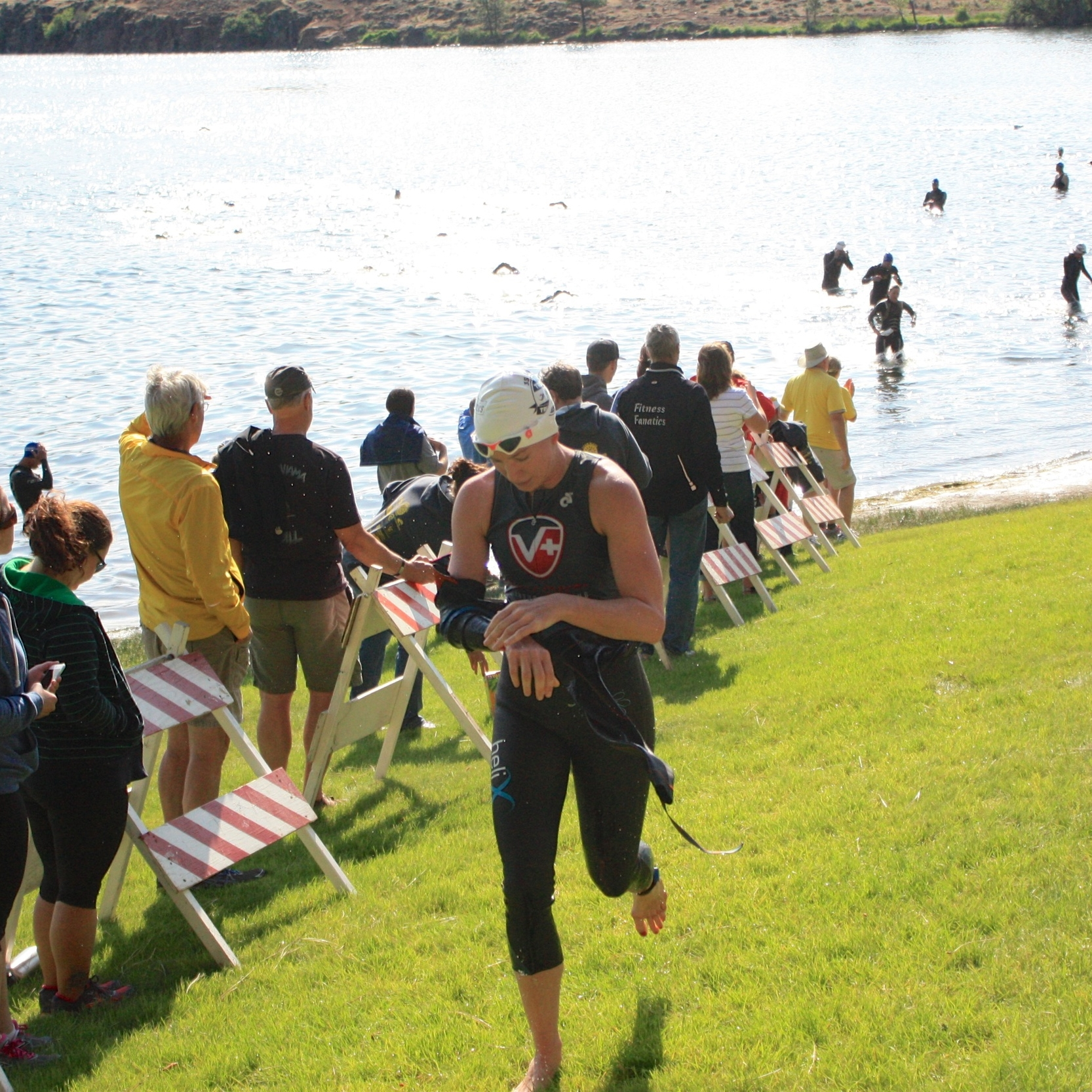 Dierdre out of the water and heading into T1